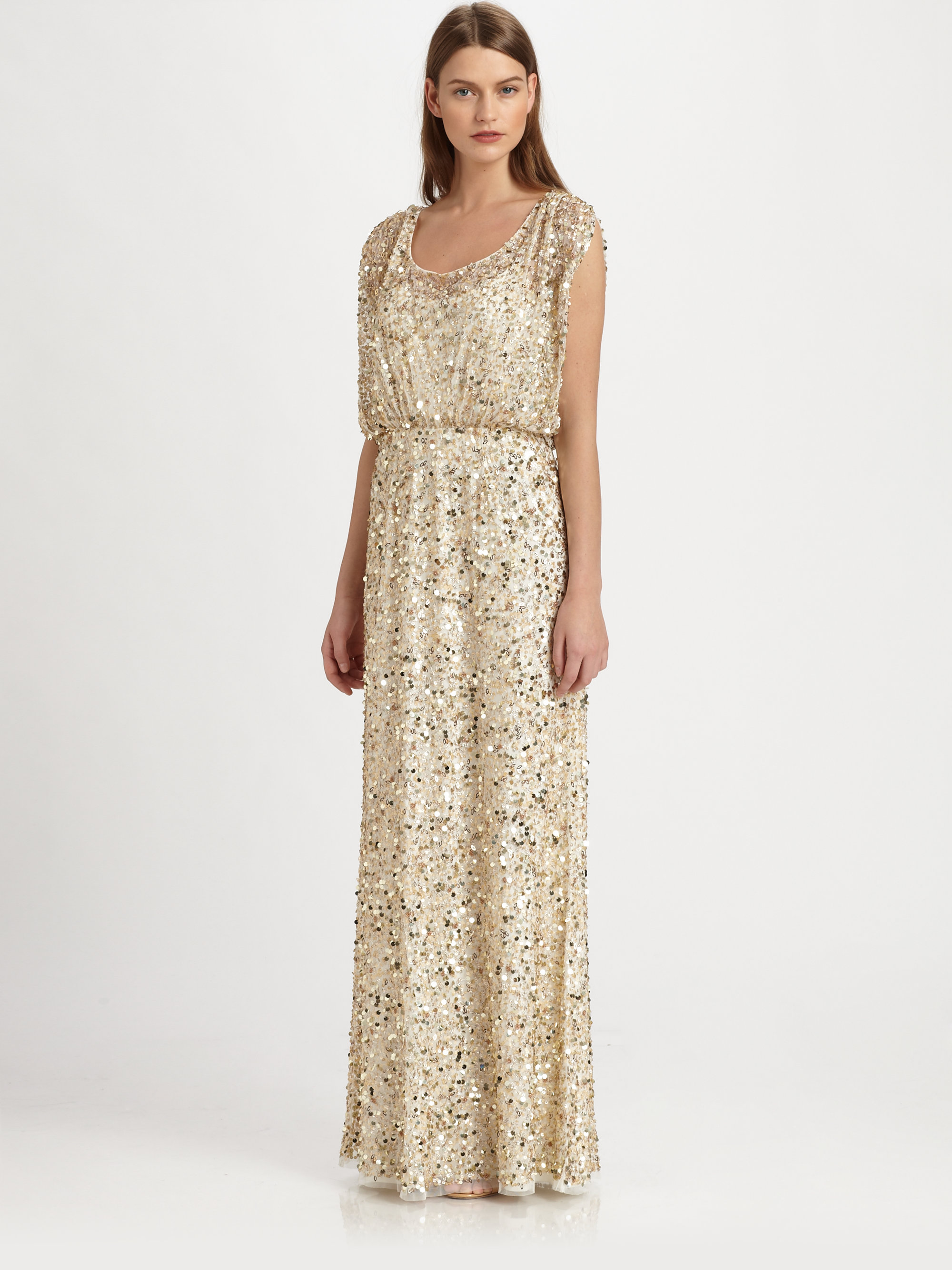 Lyst - Aidan Mattox Sequined Gown in Metallic