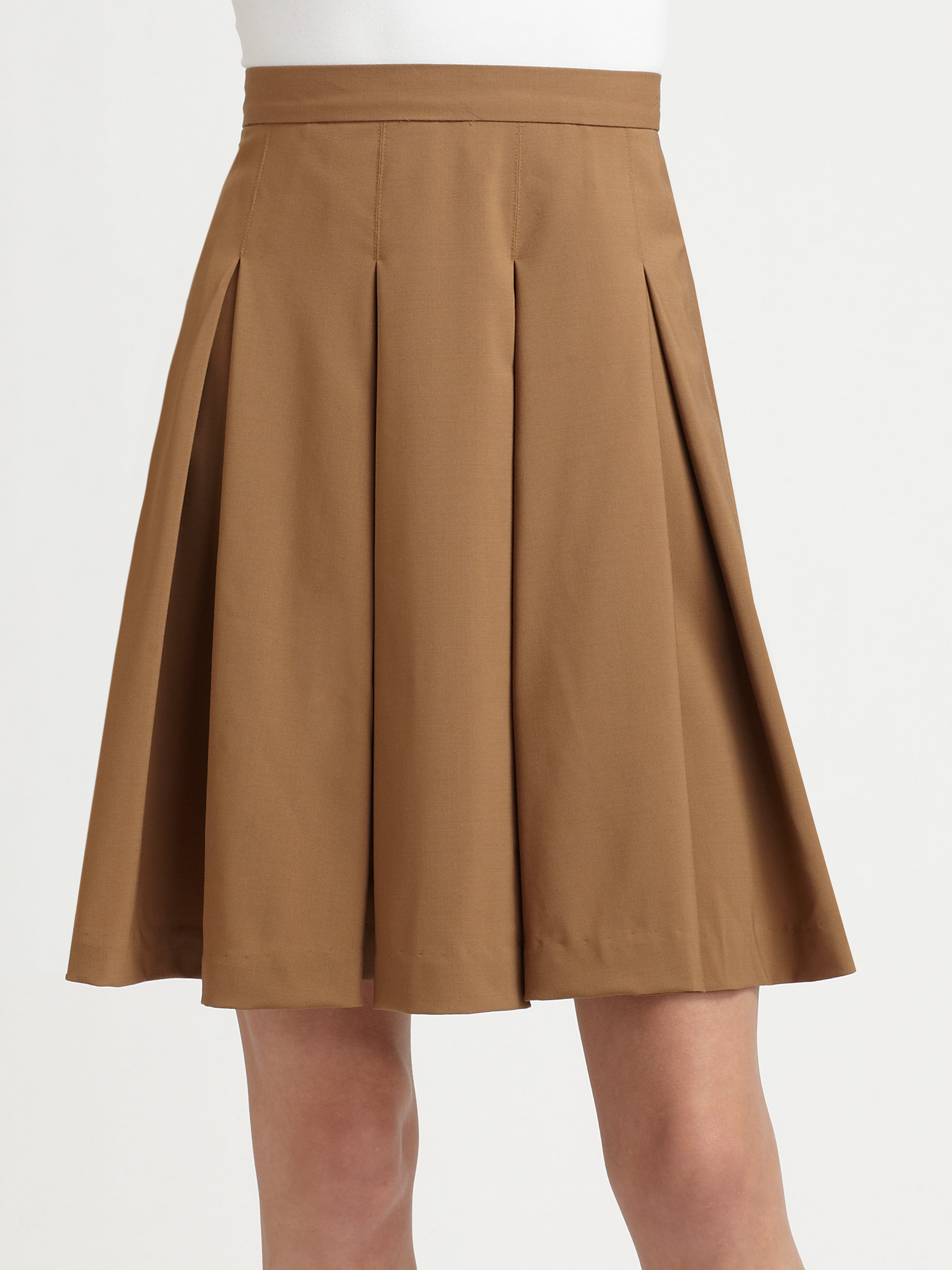 Alice   olivia Louise Box Pleat Skirt in Brown | Lyst