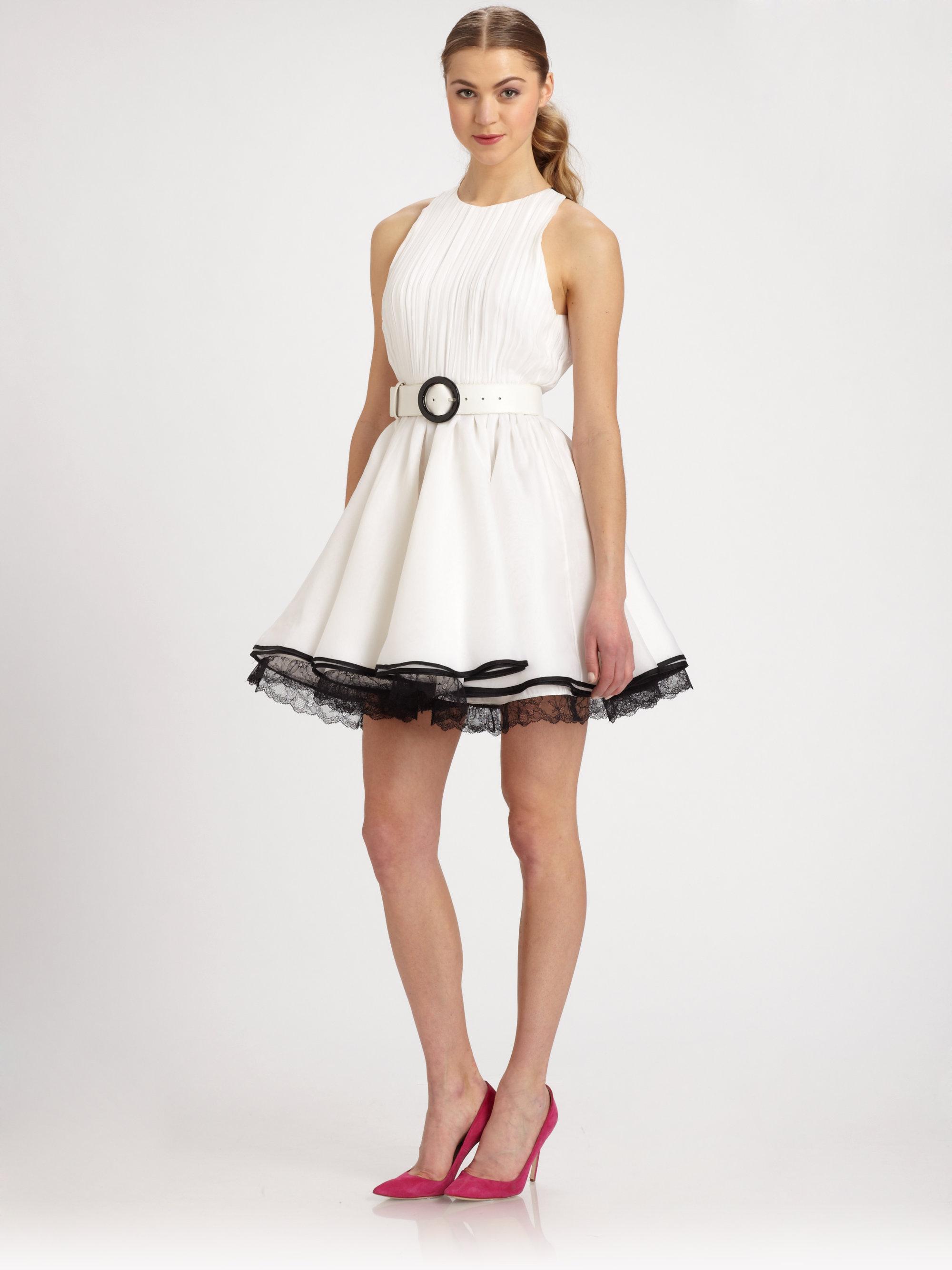 Alice Olivia Valli Silk Dress In White Lyst