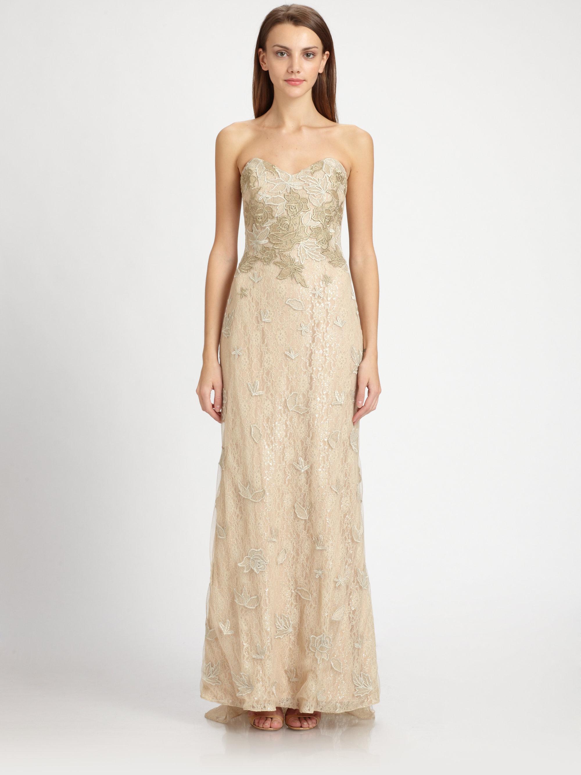 Lyst - Badgley Mischka Strapless Metallic Lace Gown in Metallic