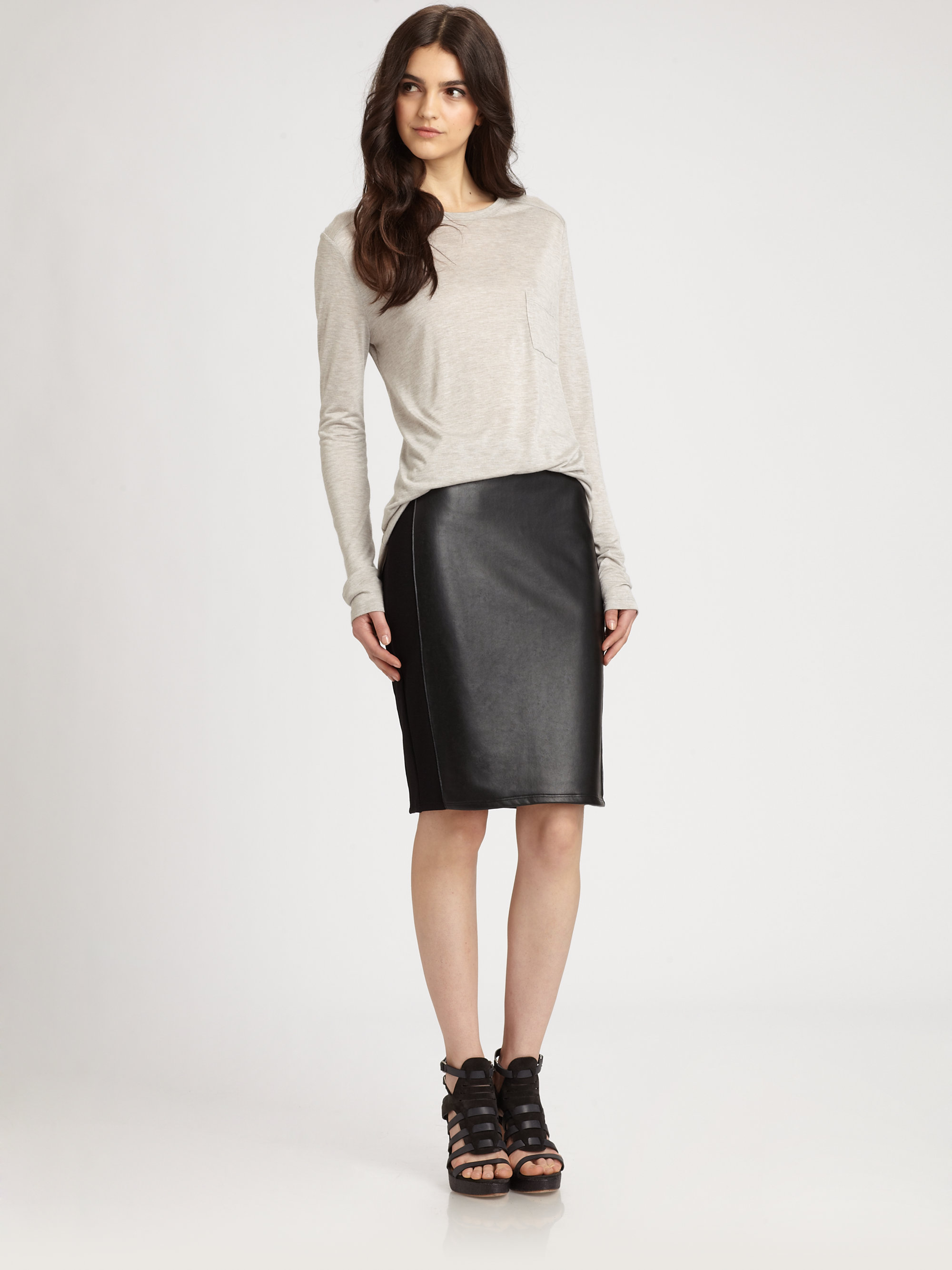 bailey 44 he sat faux leather skirt in black lyst