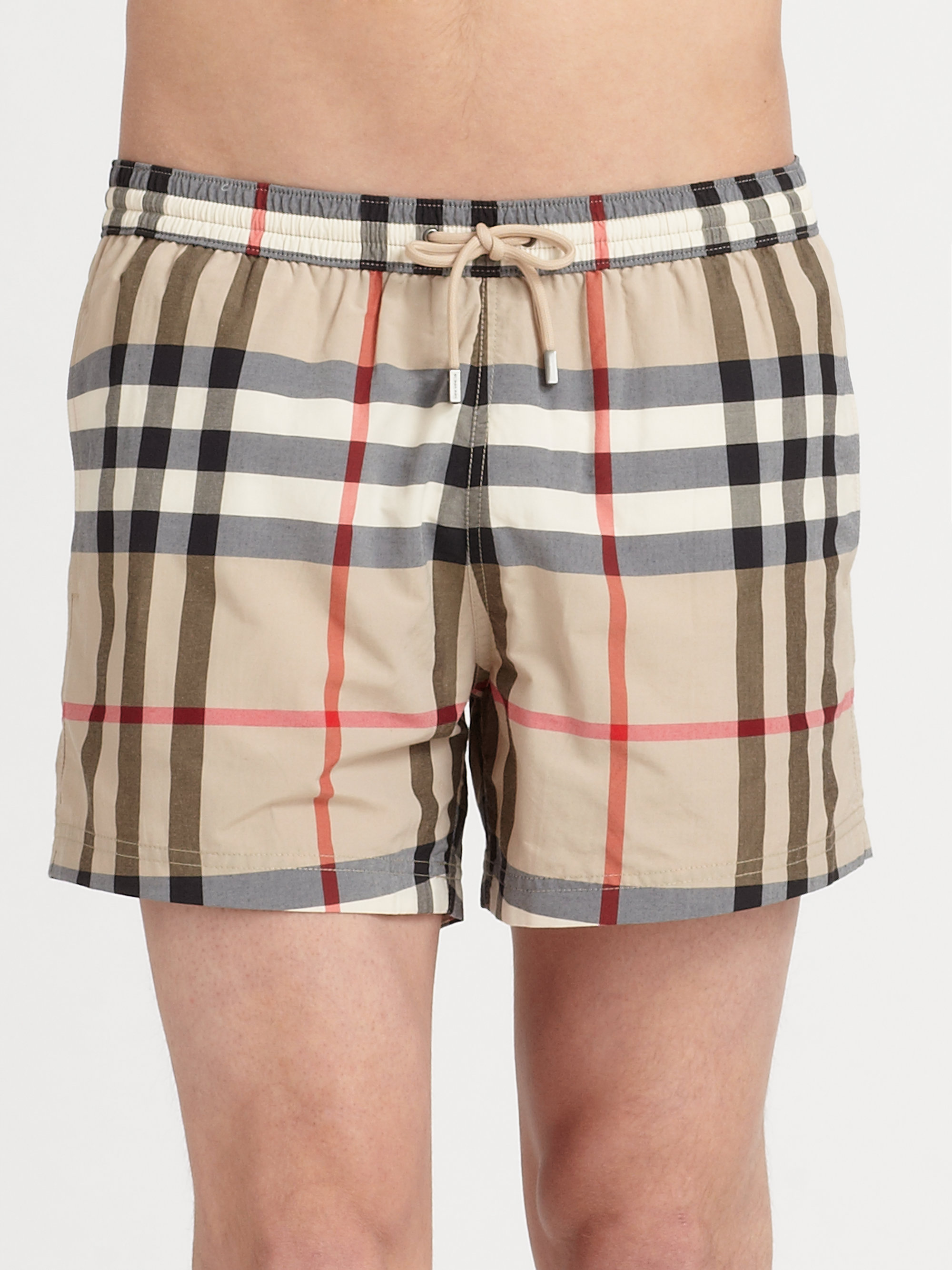 158fbaeed4 Burberry Brit Brinn Check Swim Trunks in Natural for Men - Lyst