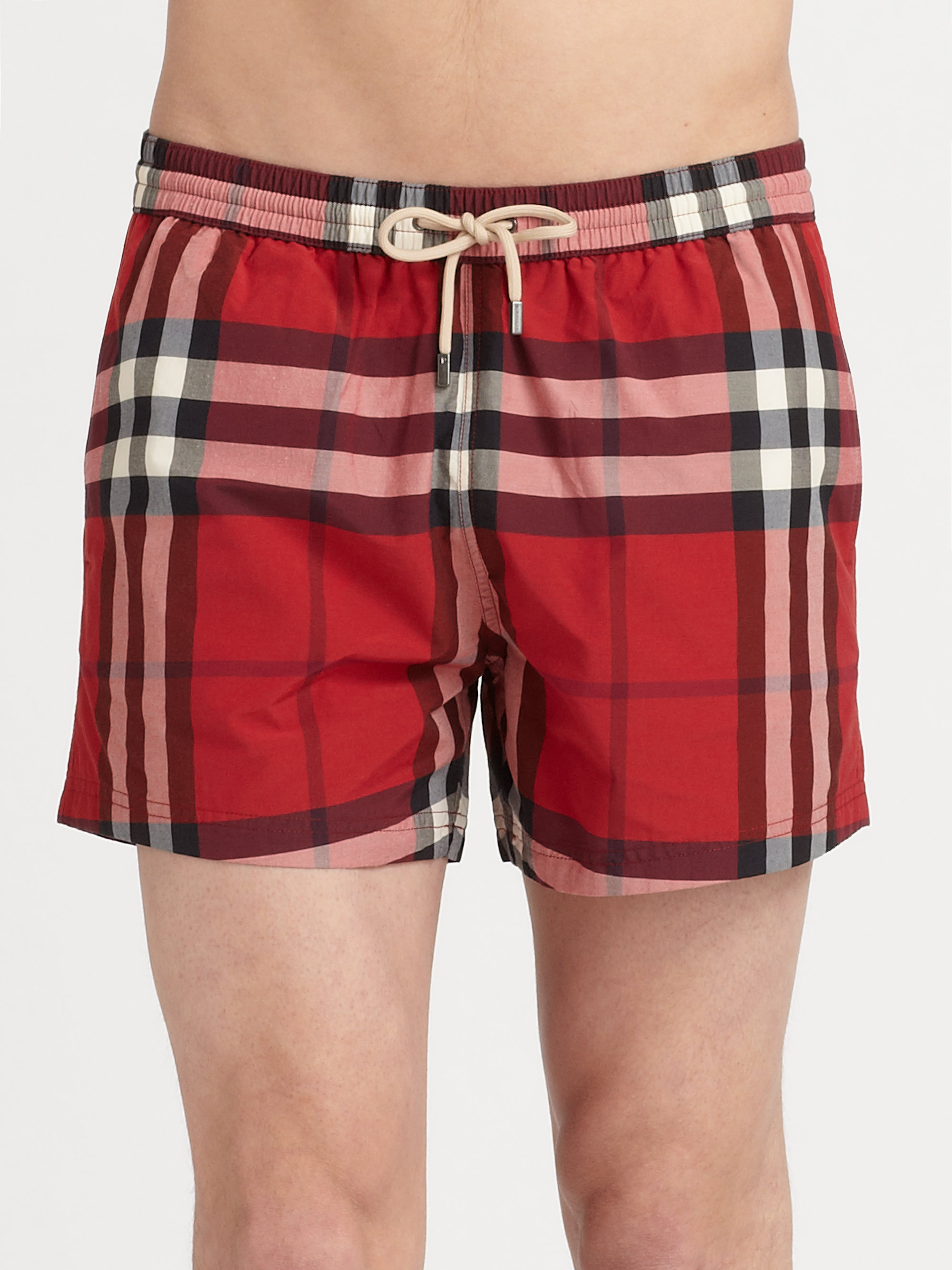3286bb393f Burberry Brit Brinn Check Swim Trunks in Red for Men - Lyst
