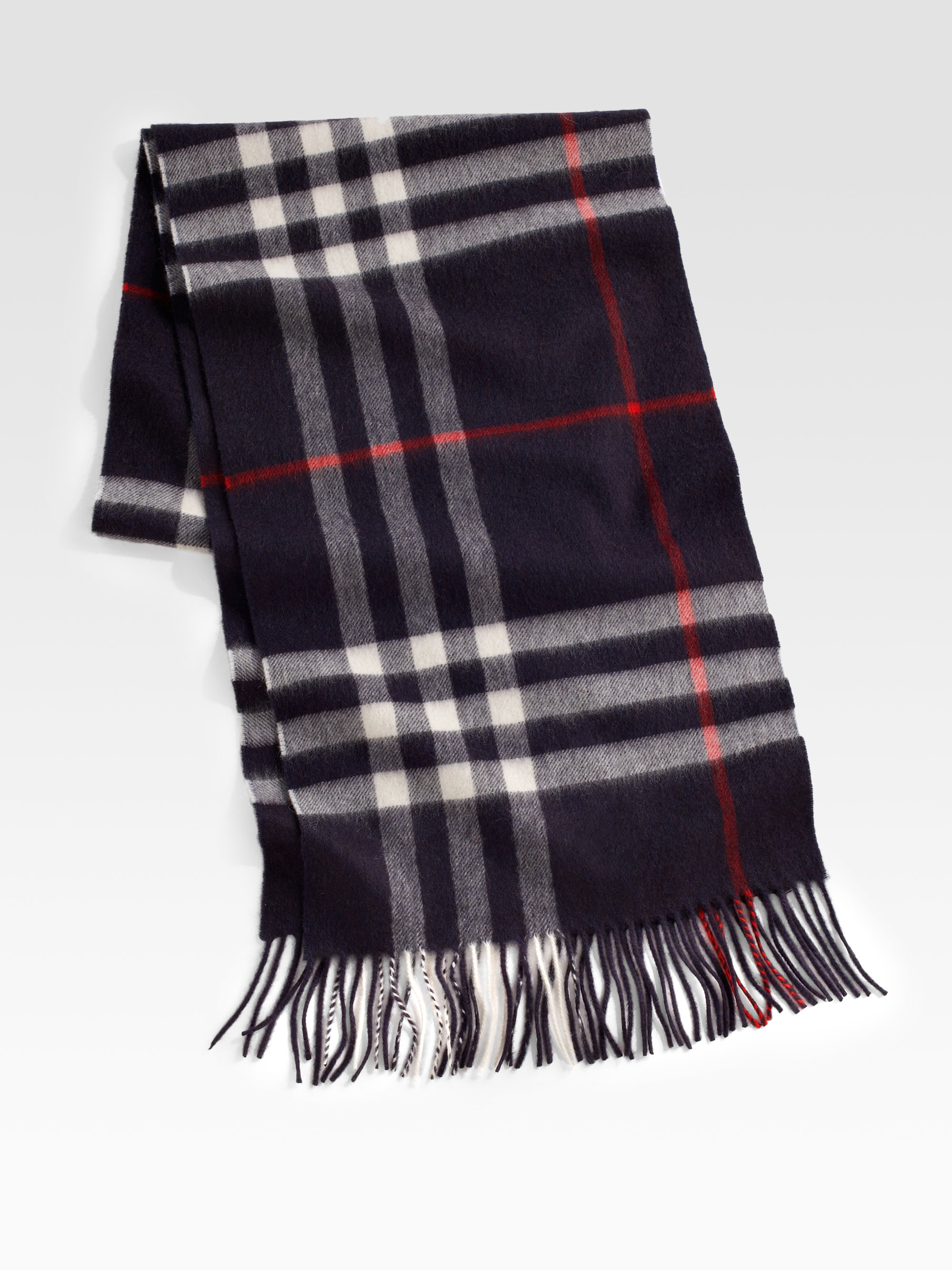 Burberry Cashmere Check Scarf In Black For Men Lyst