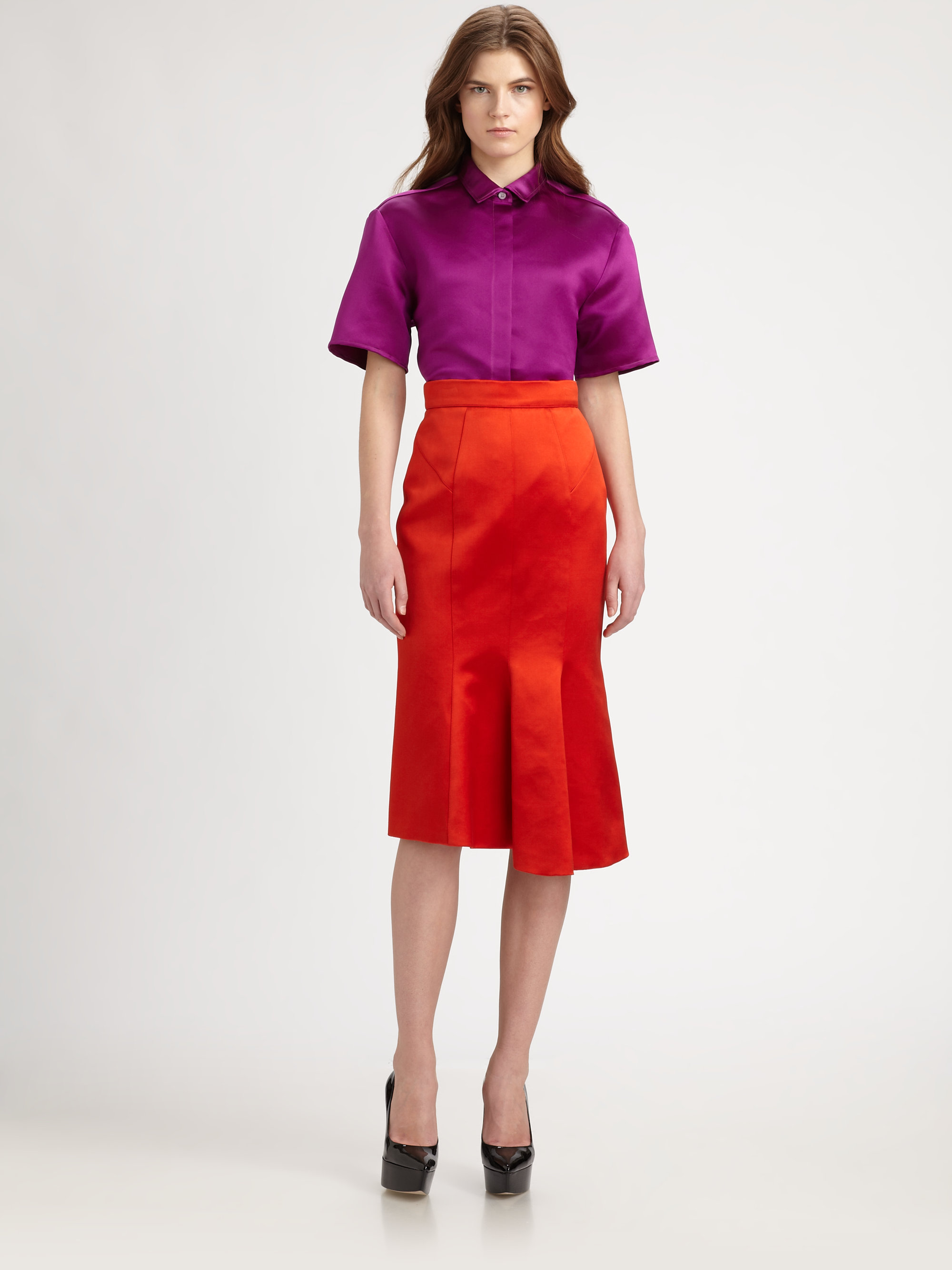 Lyst Burberry Prorsum Flared Satin Skirt In Red