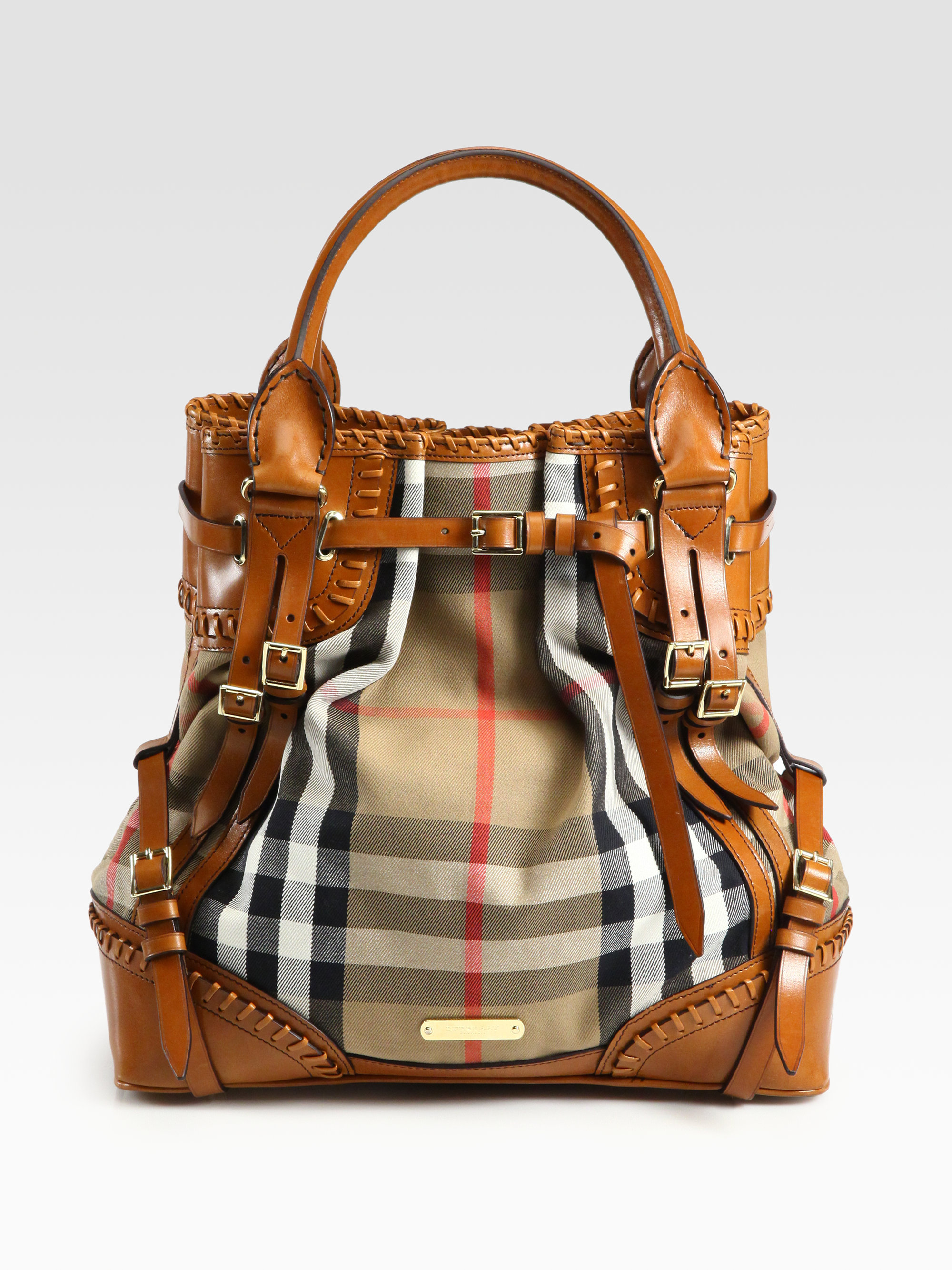 Burberry prorsum Whipstitch Leather   Check Canvas Tote Bag in Brown  599412d8b317c