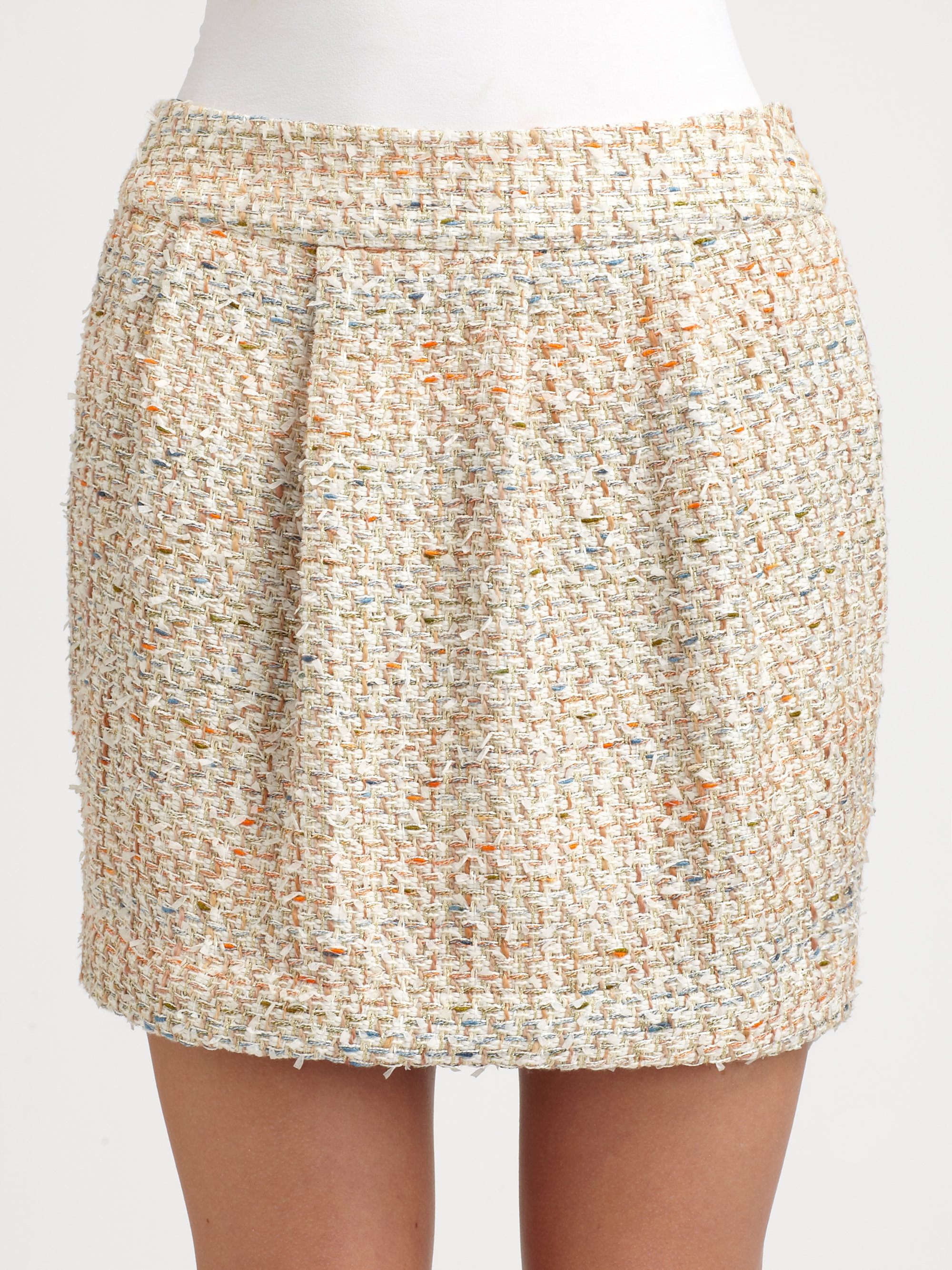 by malene birger pleated tweed mini skirt in lyst
