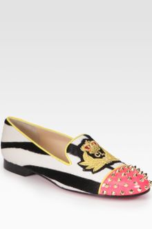 Christian Louboutin Intern Studded Pony Hair Patent Leather Smoking Slippers - Lyst
