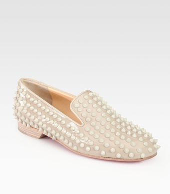 Christian Louboutin Rolling Spikes Patent Leather Smoking Slippers - Lyst
