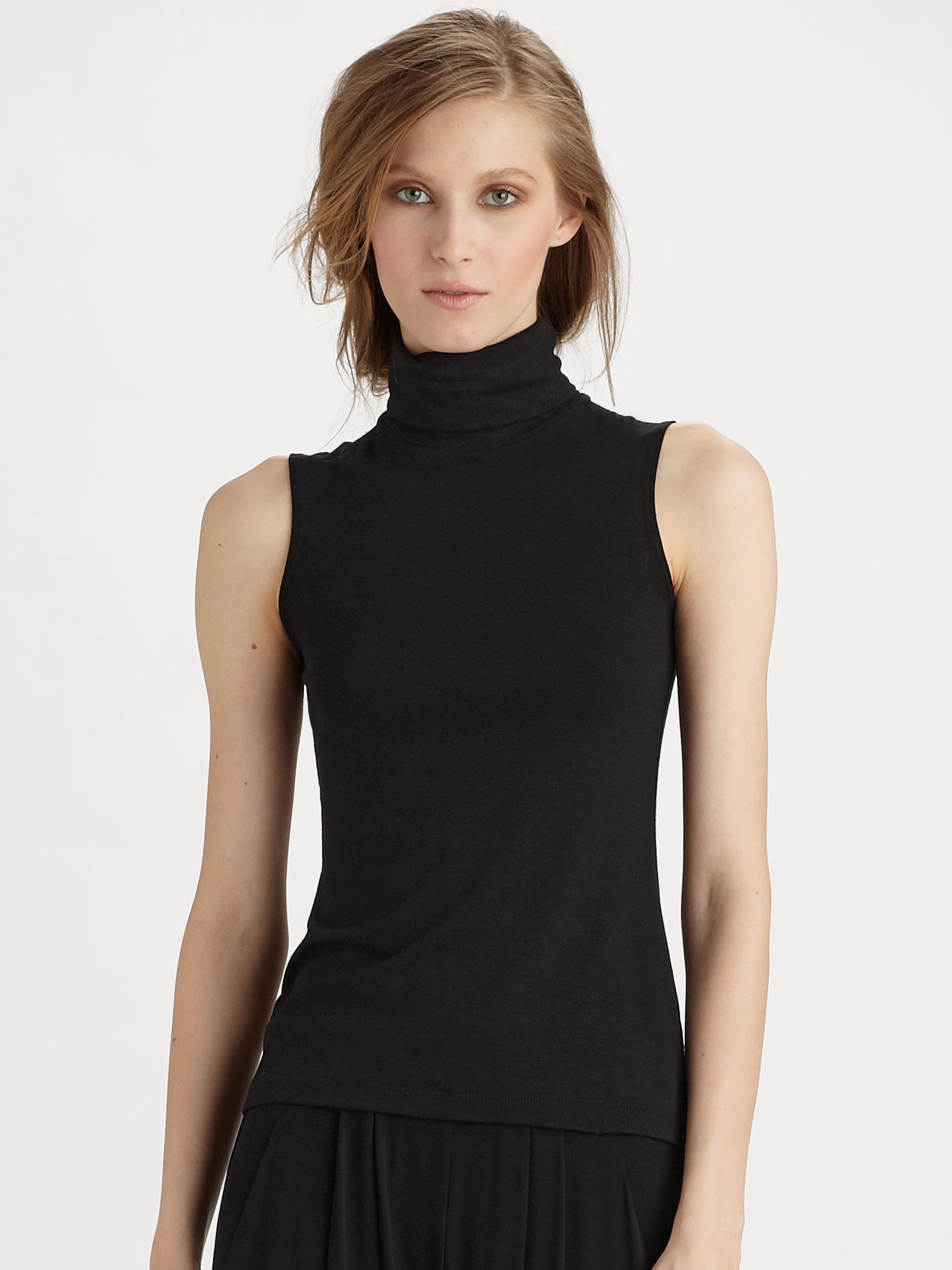 522ac378d0 Lyst - Donna Karan Sleeveless Turtleneck Top in Black