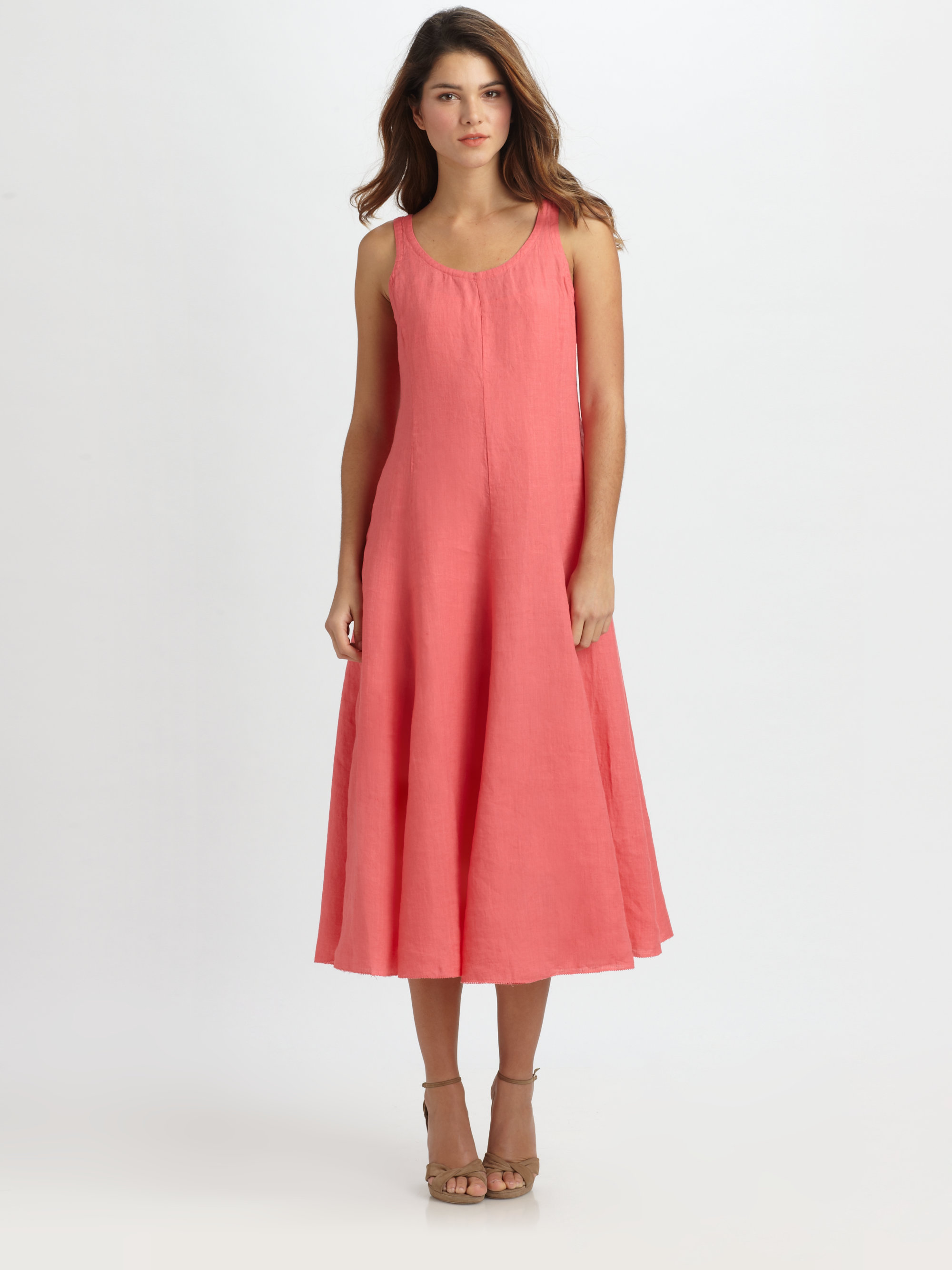 570bfde31ad Lyst - Eileen Fisher Sleeveless Linen Dress in Red