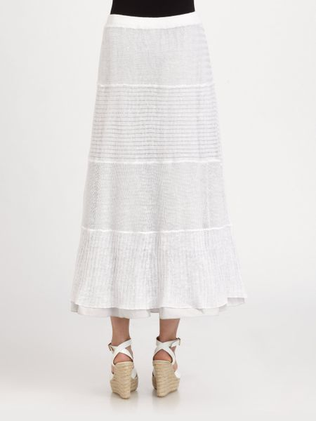 eileen fisher linen tiered maxi skirt in white lyst