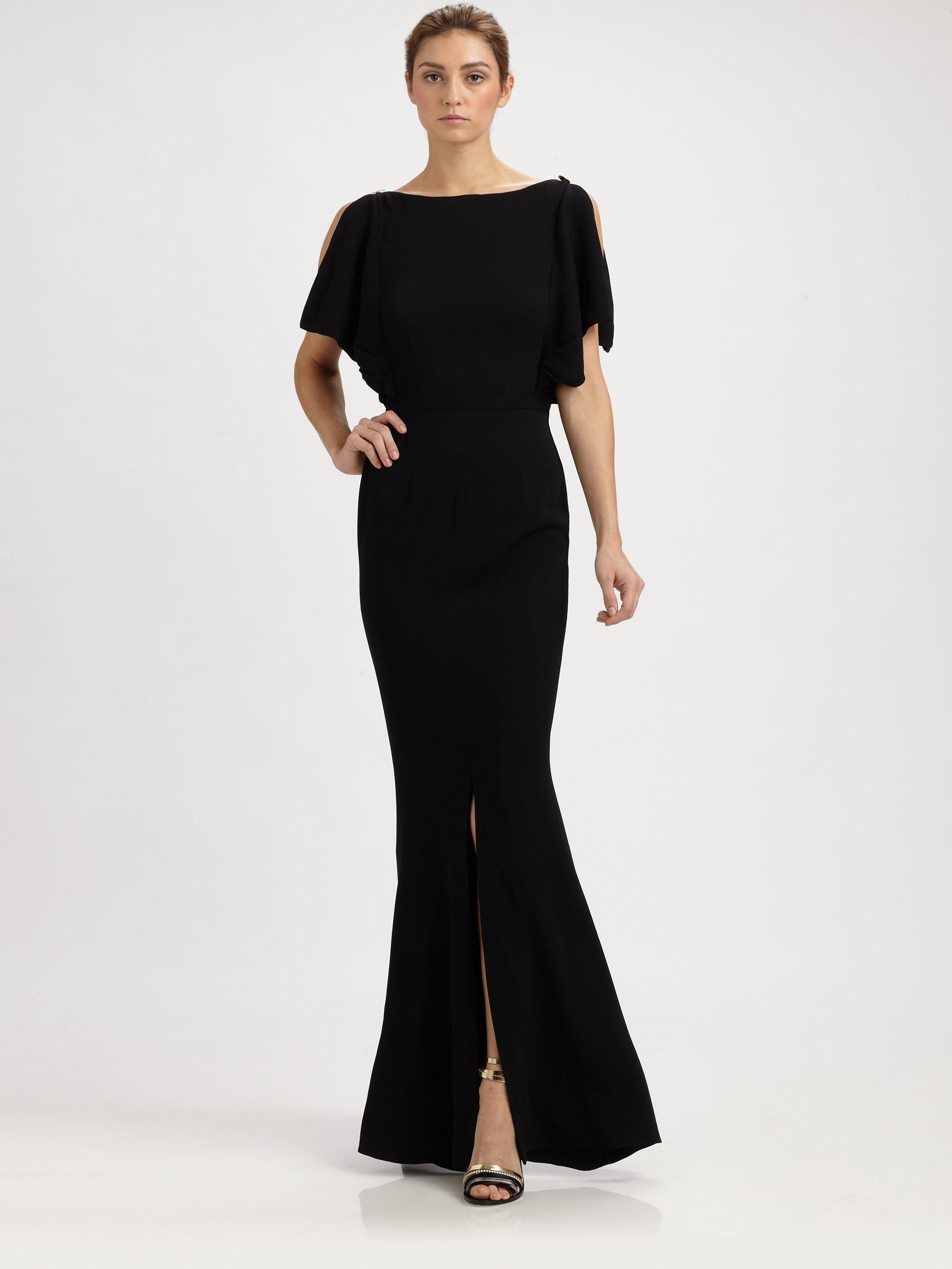 Lyst - Fendi Crepe Open Back Gown in Black