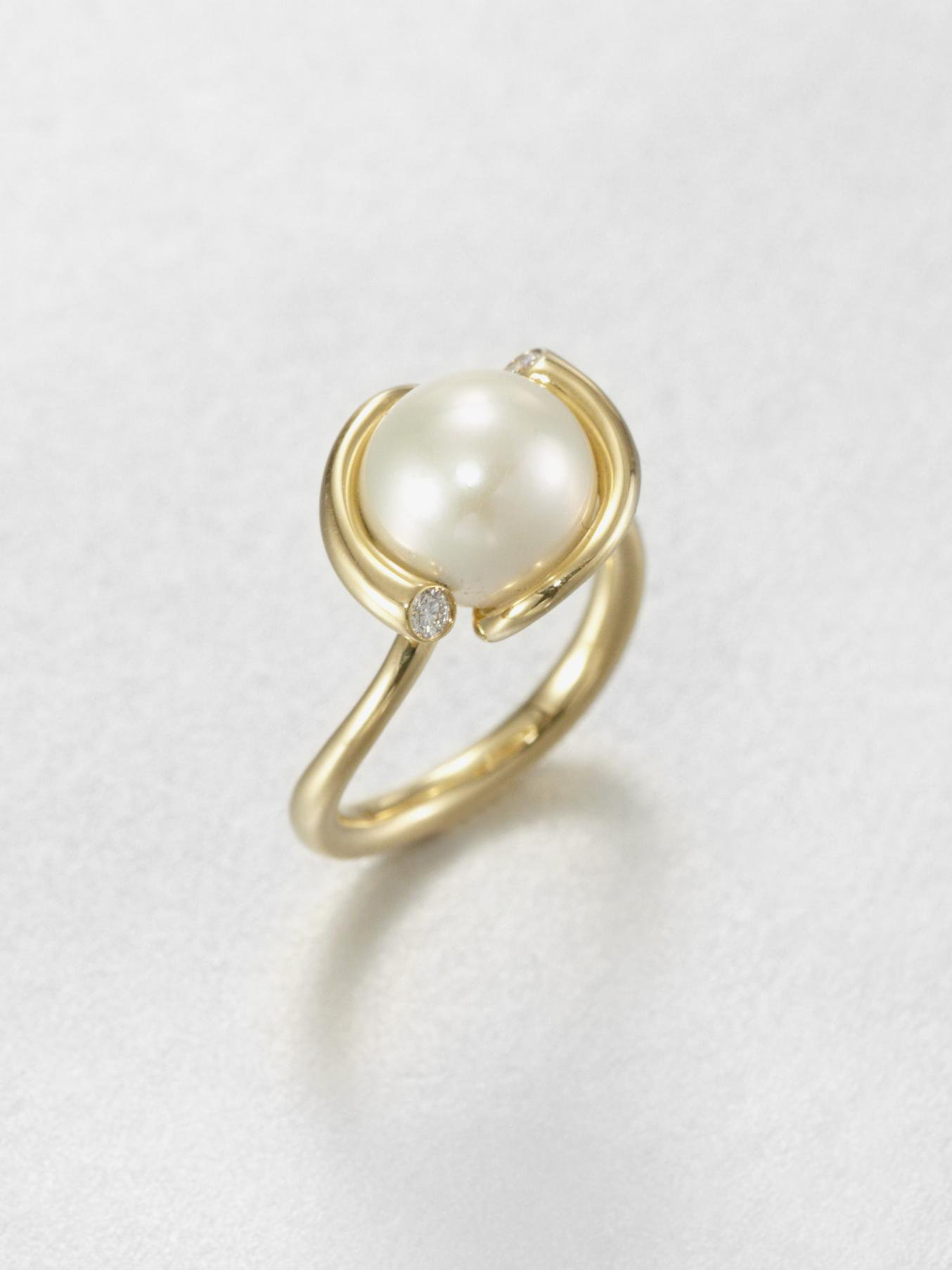 Georg Jensen White Freshwater Pearl Diamond And 18k