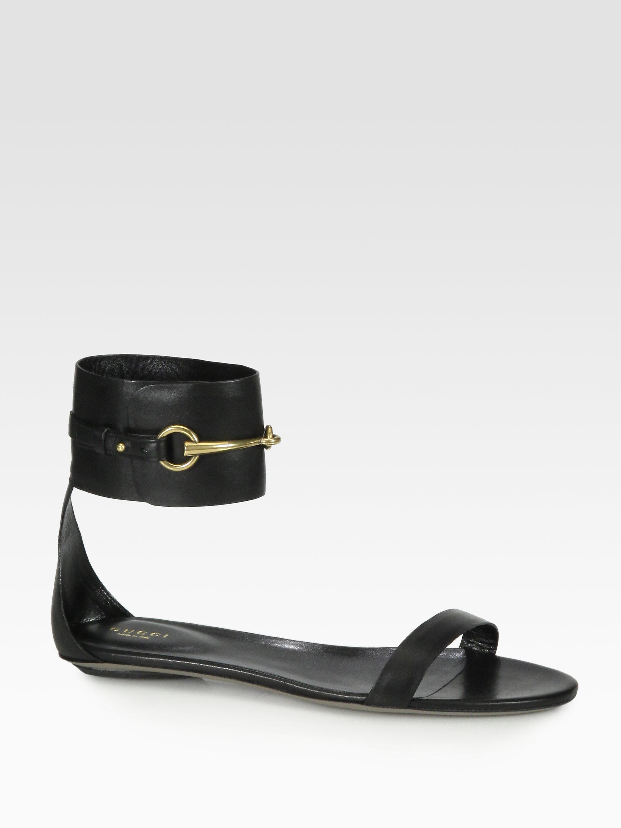 6cae803ccf15 Lyst - Gucci Ursula Leather Horsebit Ankle Strap Sandals in Black
