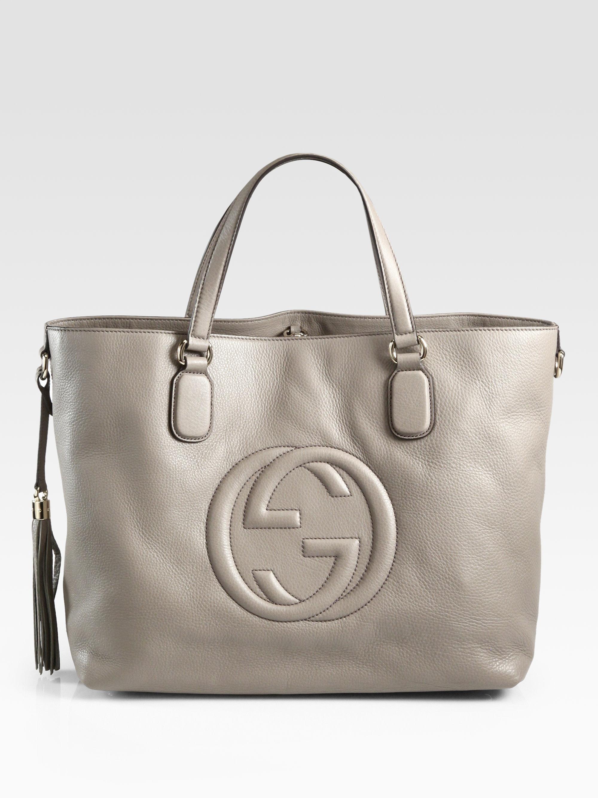916d0da9a39 Lyst - Gucci Soho Medium Tote Bag in Gray