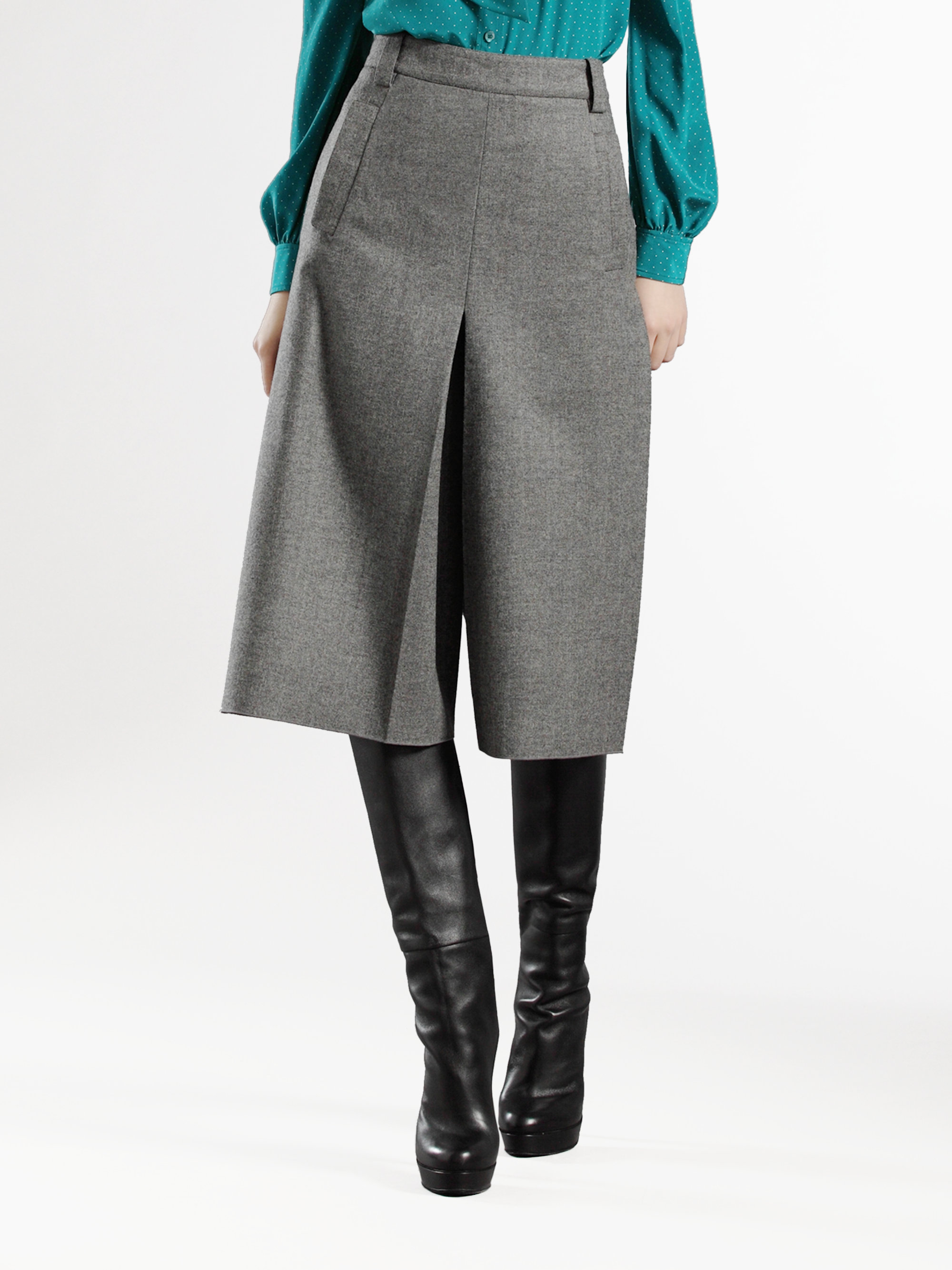 Gucci Wool-cashmere Gaucho Pants in Gray | Lyst