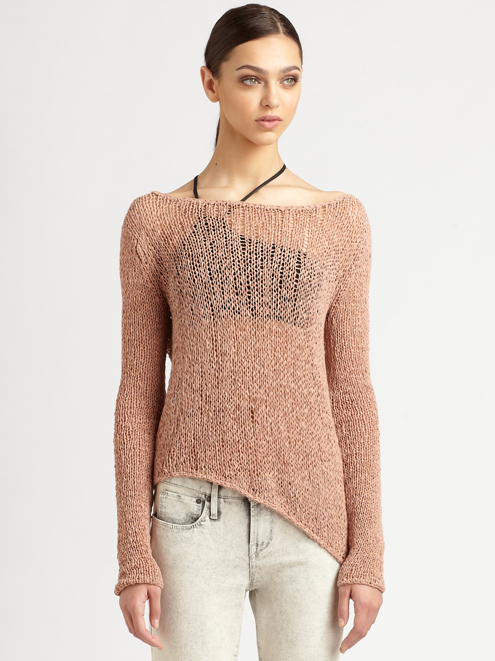 Lyst Helmut Lang Textured Tape Yarn Sweater In Brown
