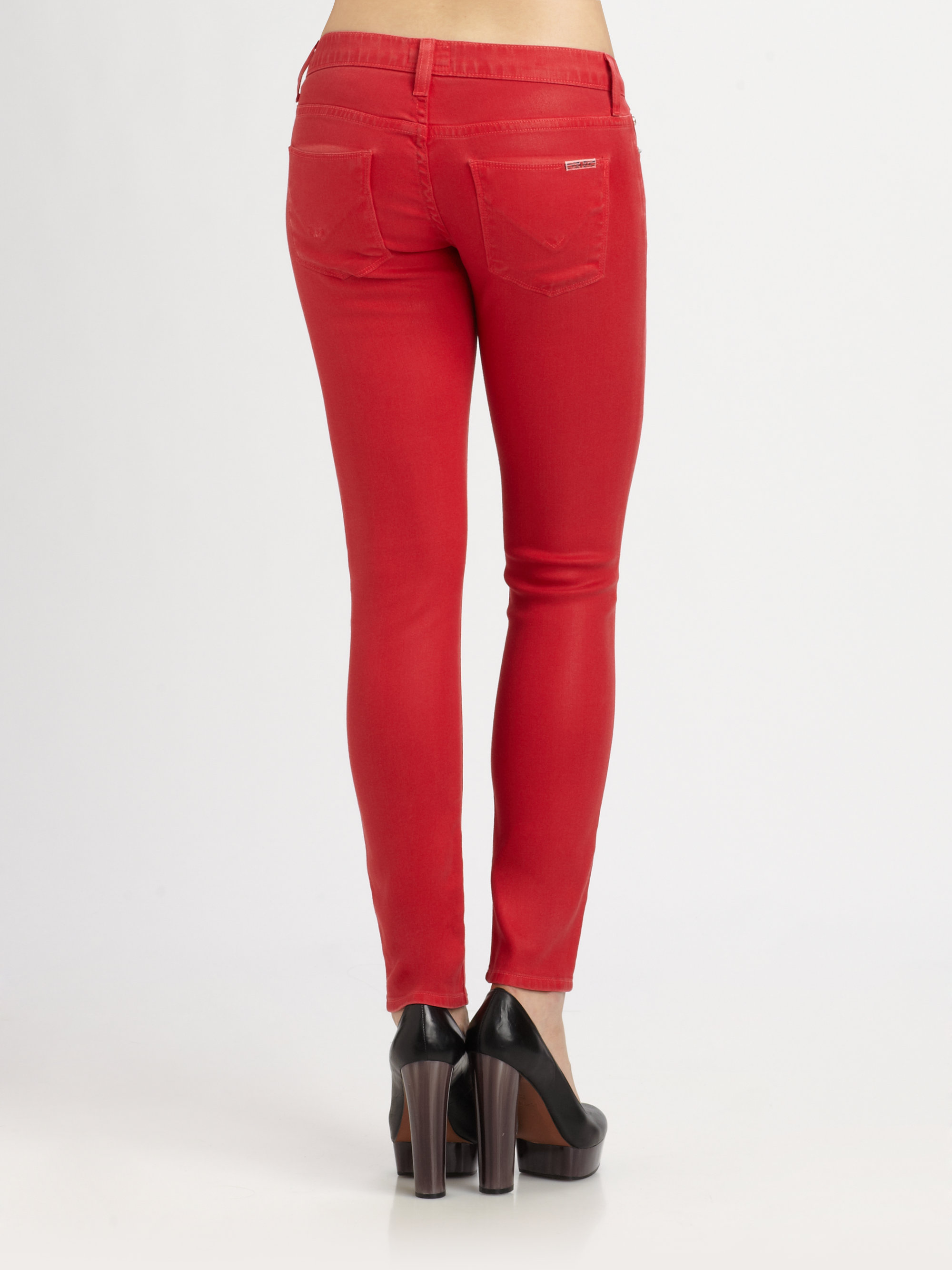 Hudson jeans Krista Super-skinny Jeans in Red | Lyst