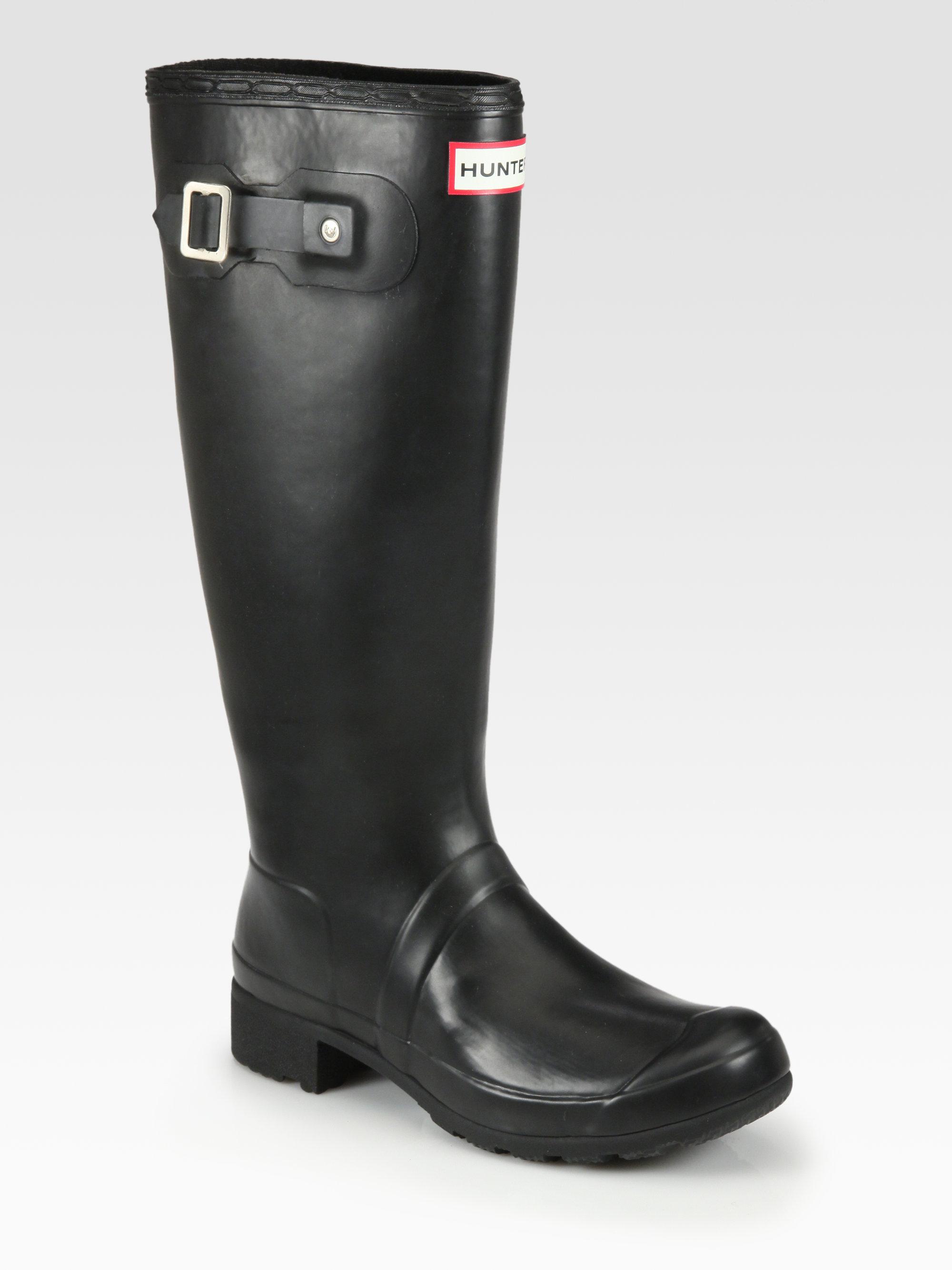 Hunter Original Tour Packable Rain Boots in Black | Lyst