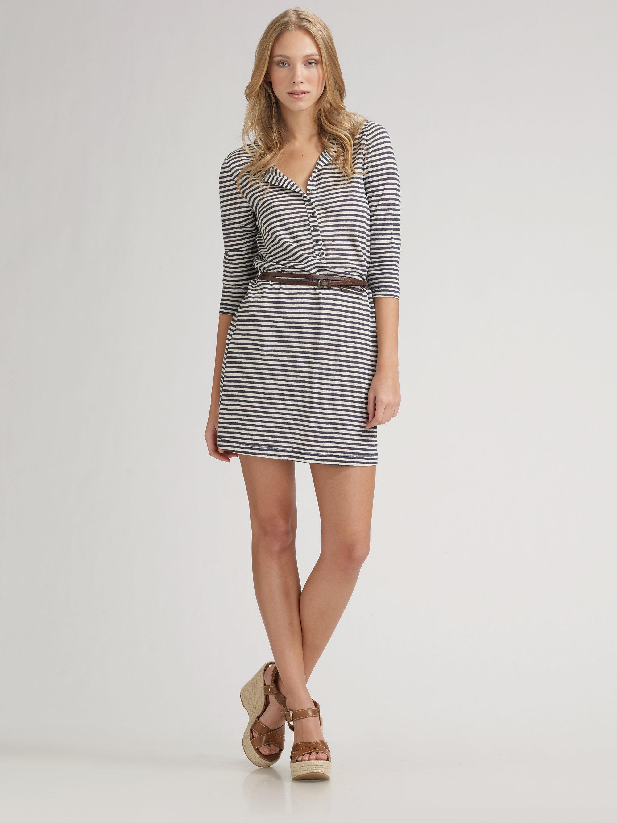 1d2a71a52e Lyst - Joie Striped Linen Dress Belt in Gray