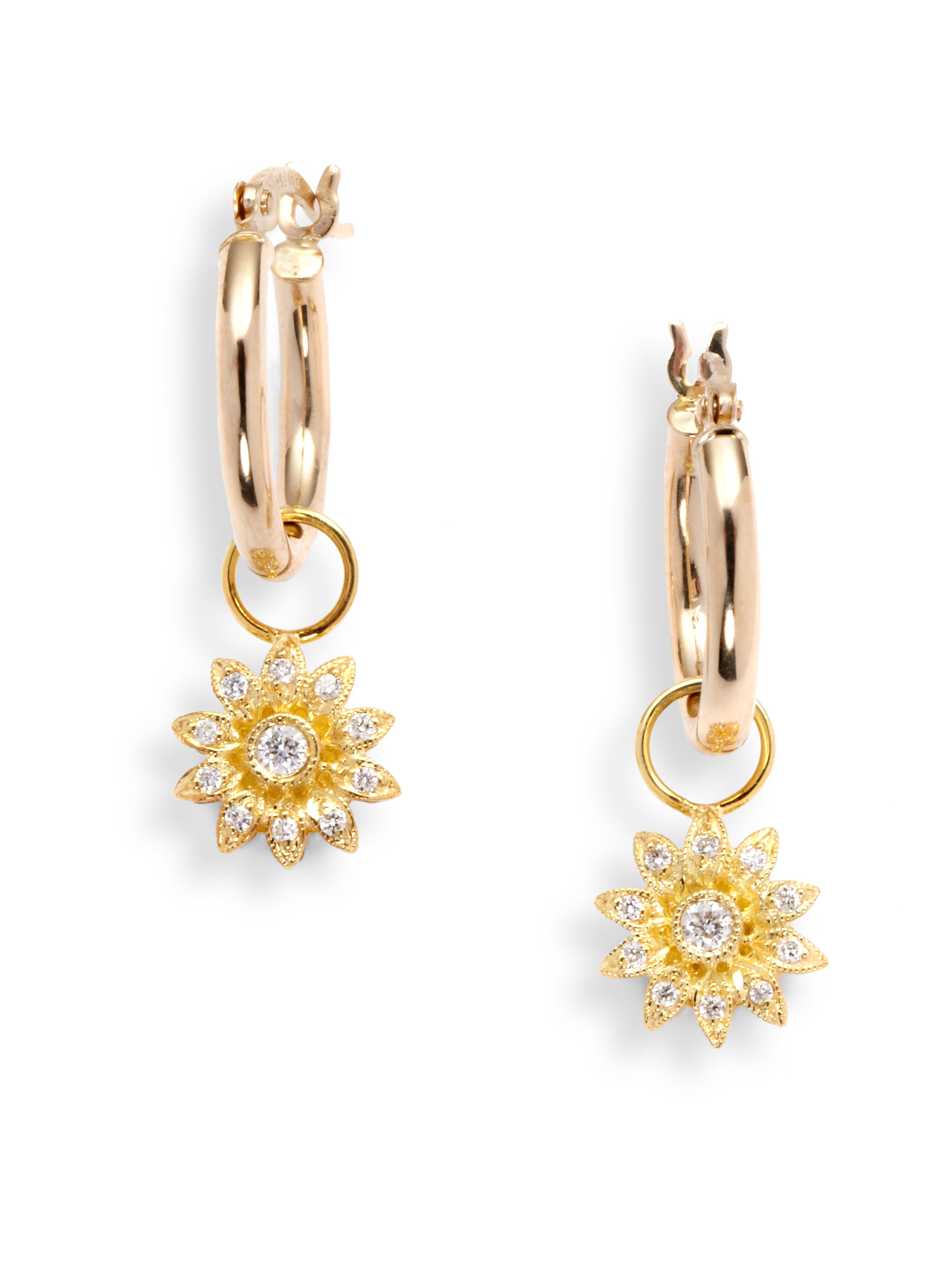 Lyst - Kc designs Diamond Flower Charm Hoop Earrings in Metallic