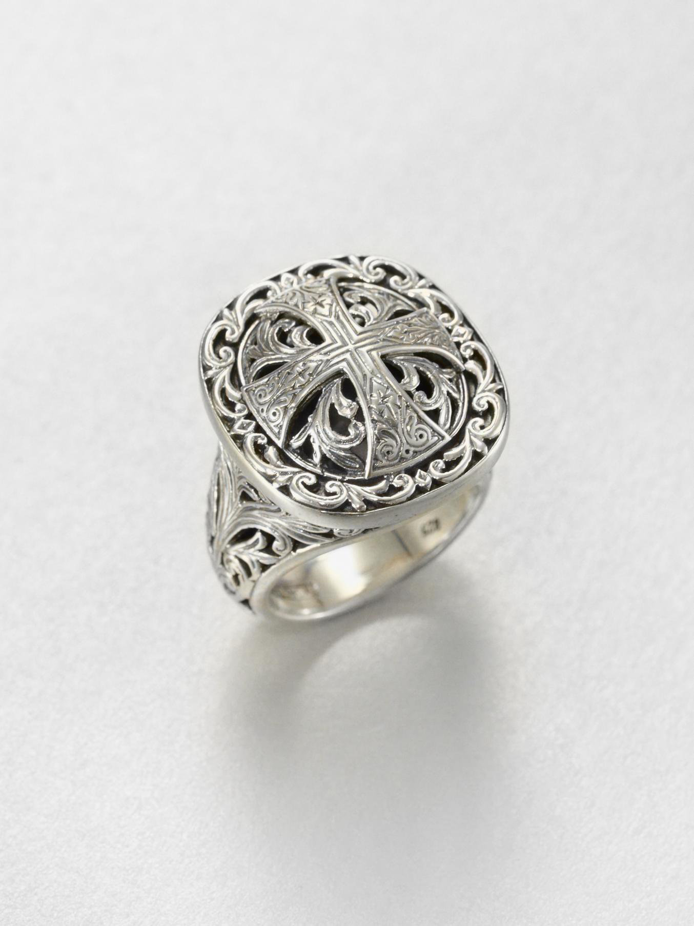 Konstantino Sterling Silver Etched Cross Ring DTWevx6F