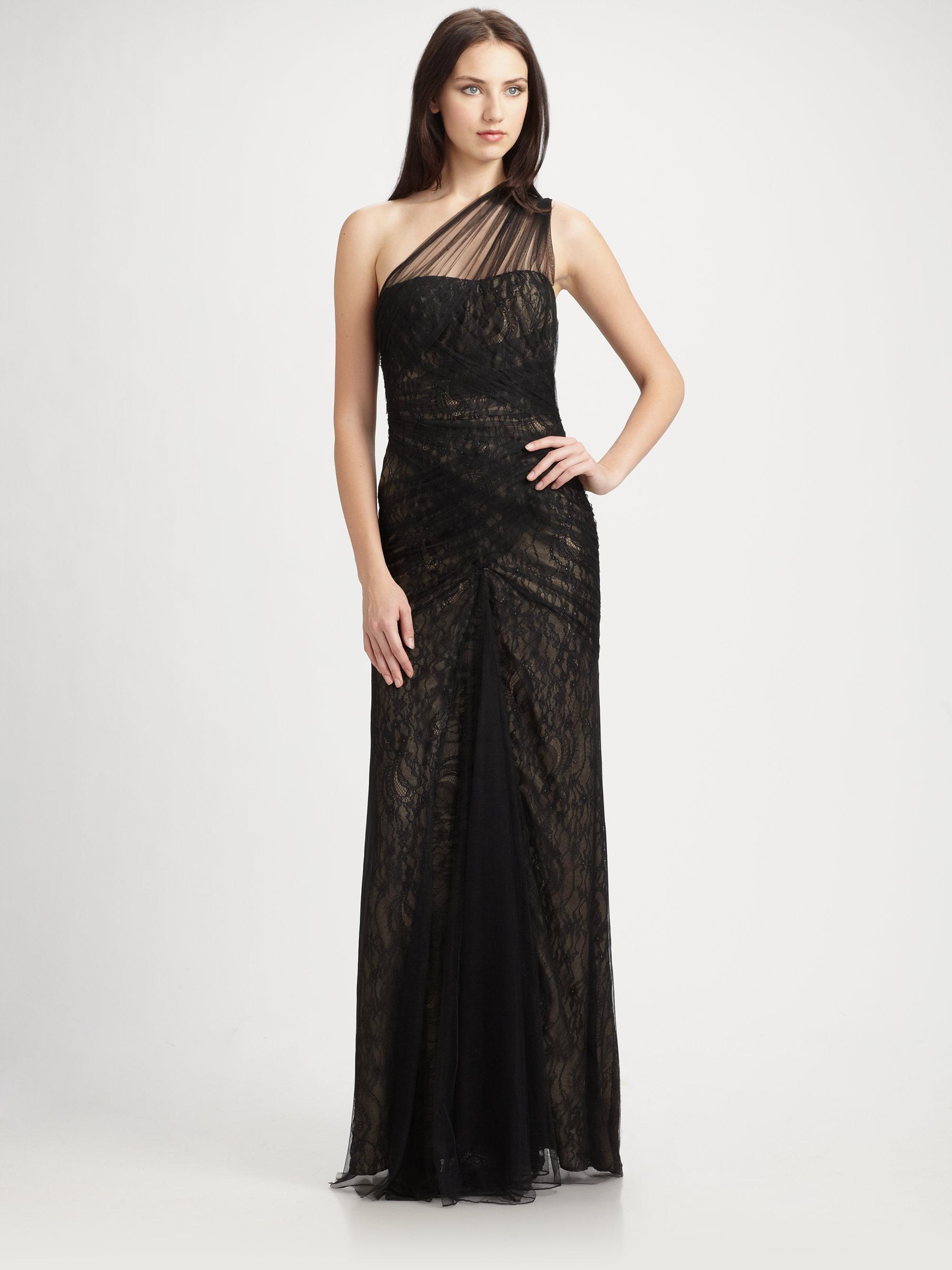 Monique Lhuillier Lace-Bodice Jersey Gown ($4,590) found