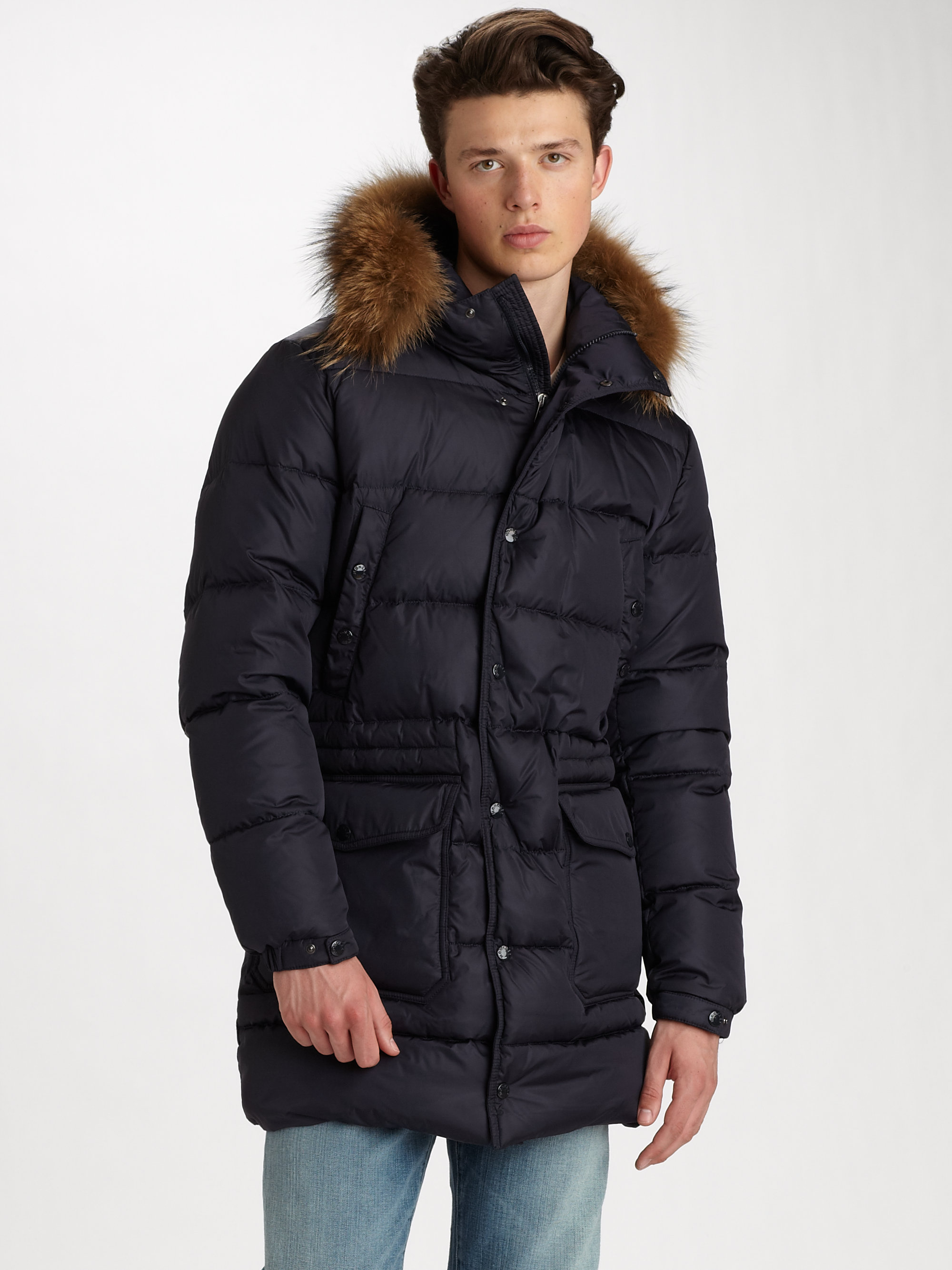 moncler senega down parka in black for men lyst. Black Bedroom Furniture Sets. Home Design Ideas