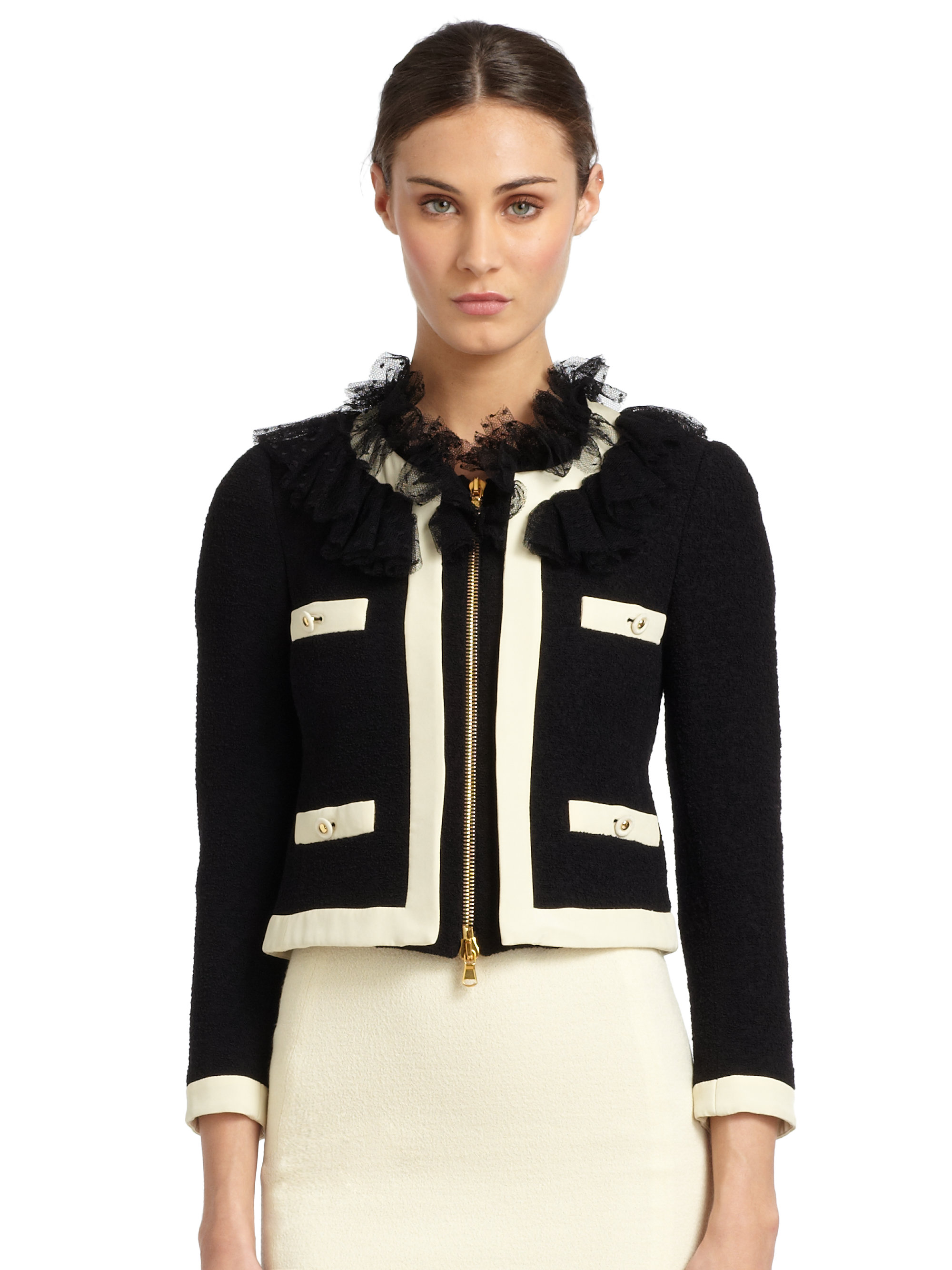 Moschino Silktrimmed Tulle Collar Boucle Jacket in Black | Lyst