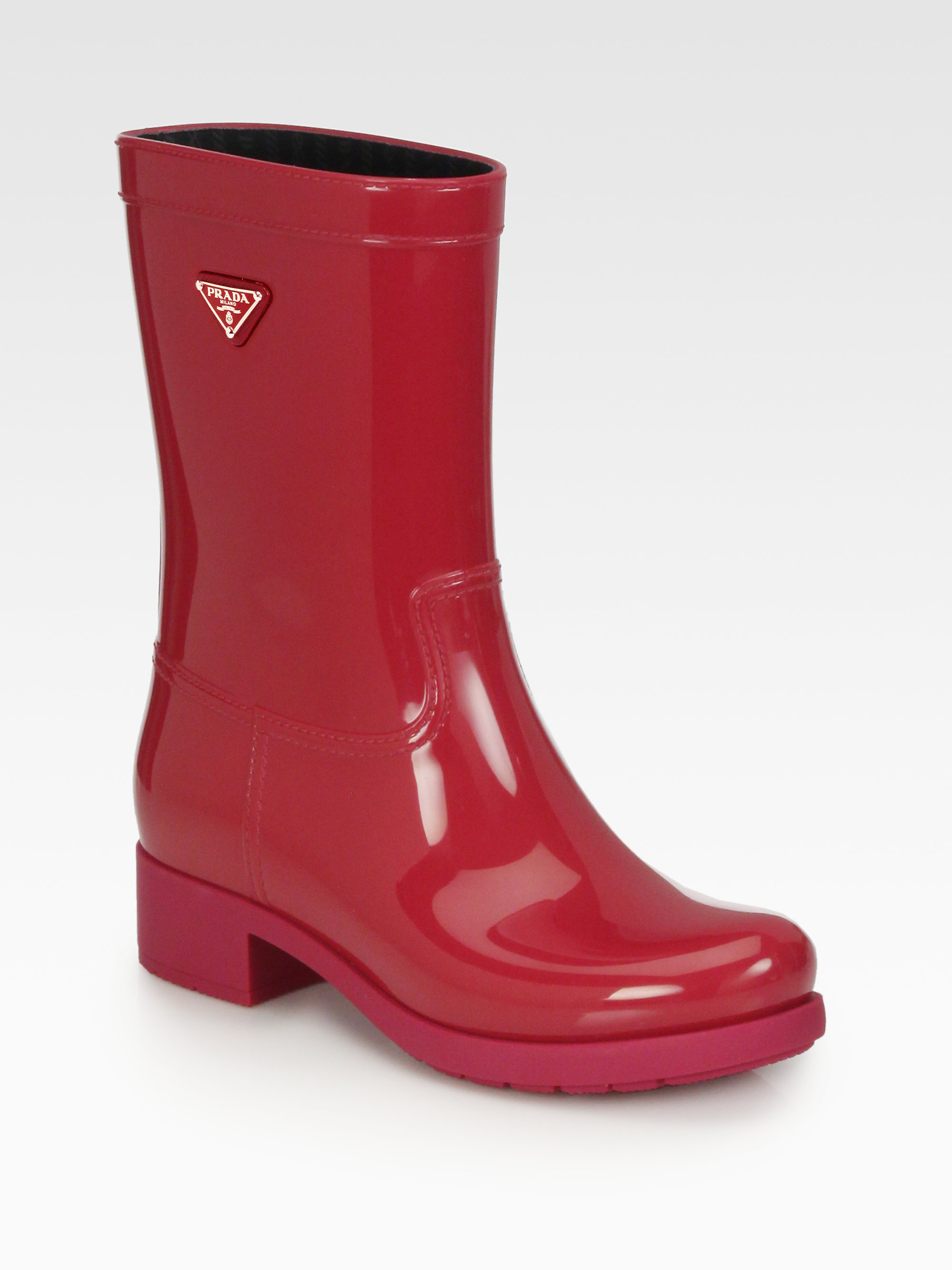 Prada Short Logo Rain Boots in Red | Lyst