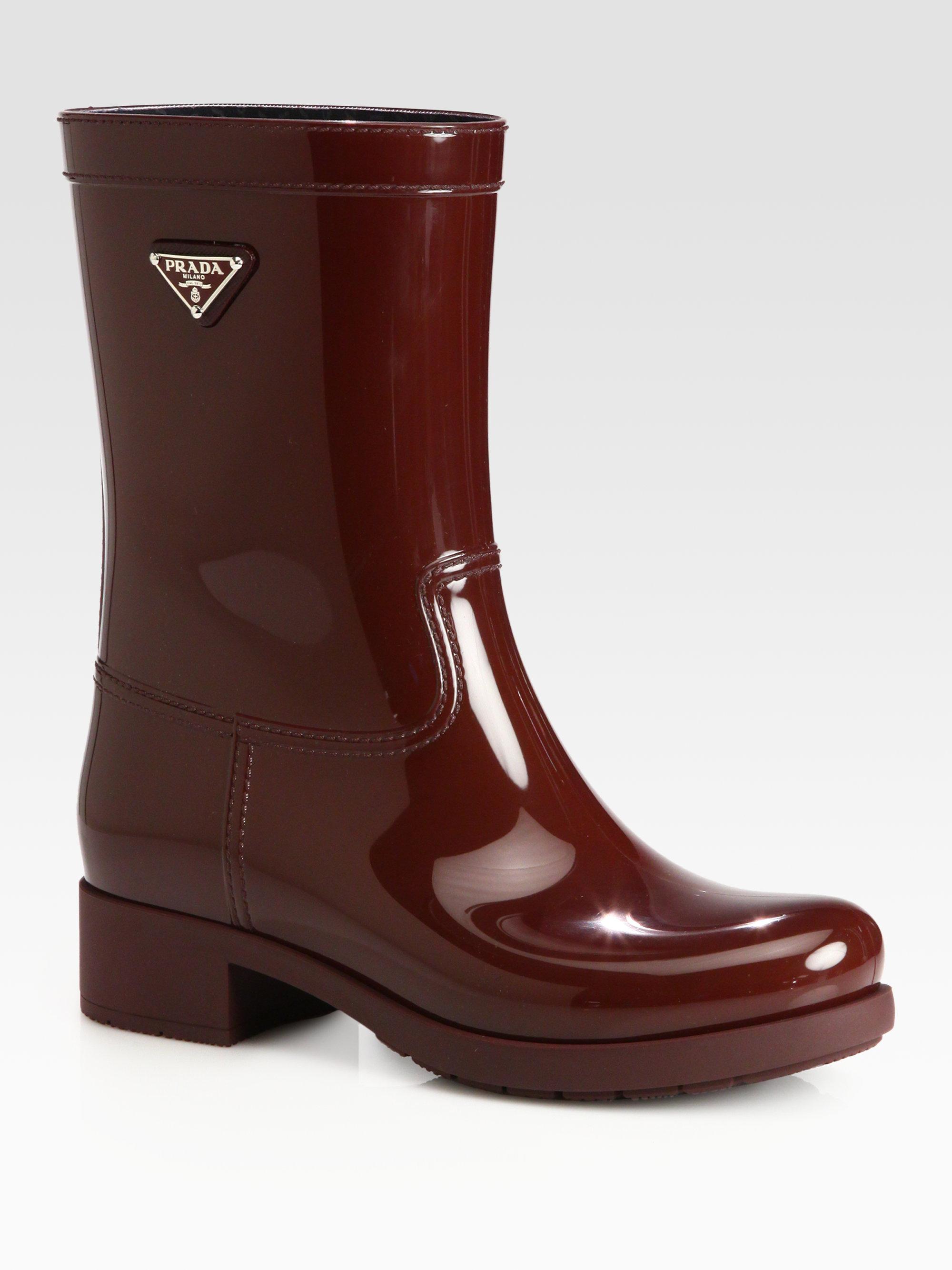 Prada Short Logo Rain Boots In Red Porpora Burgundy Lyst