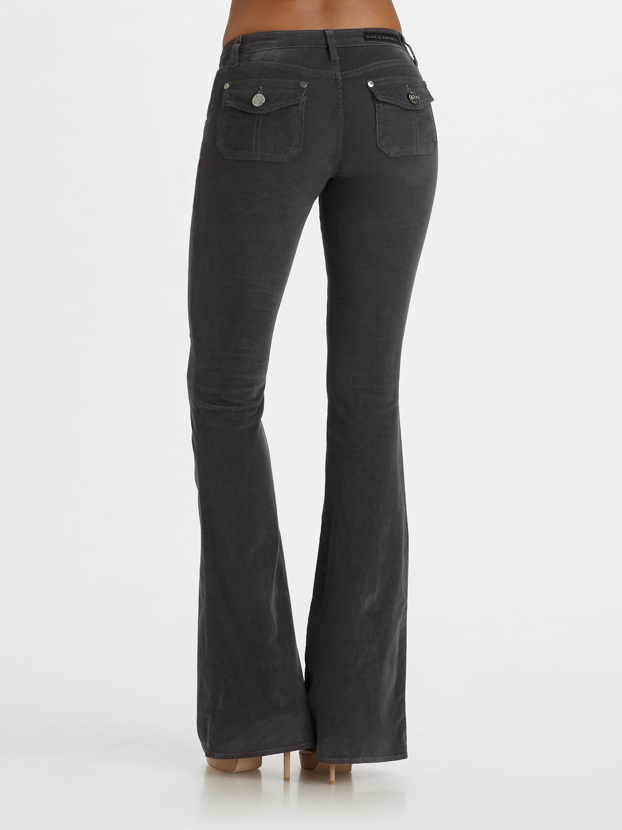 Womens Grey Bootcut Jeans