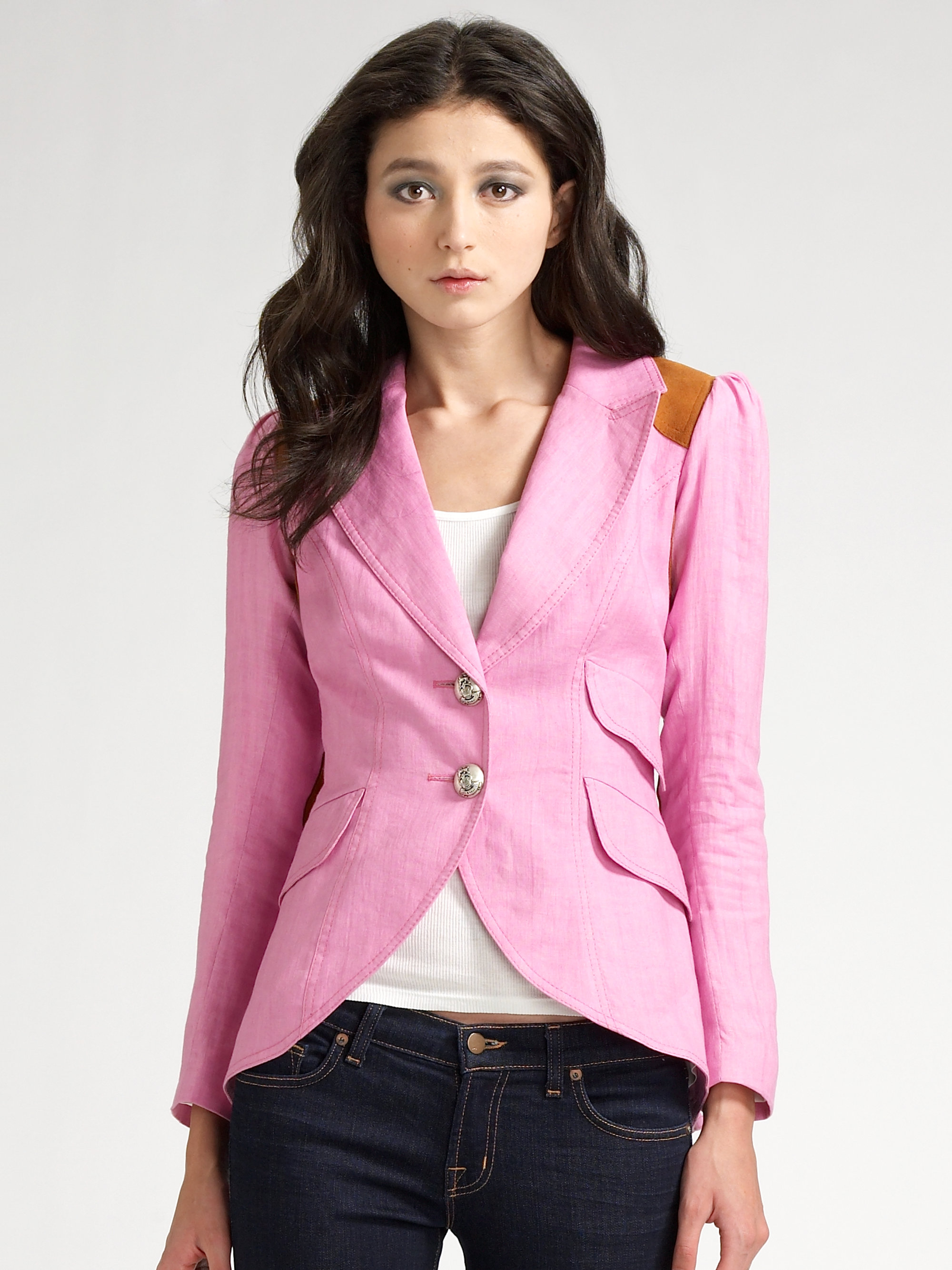 Smythe suededetail linen blazer in pink lavender lyst for Smythe designer