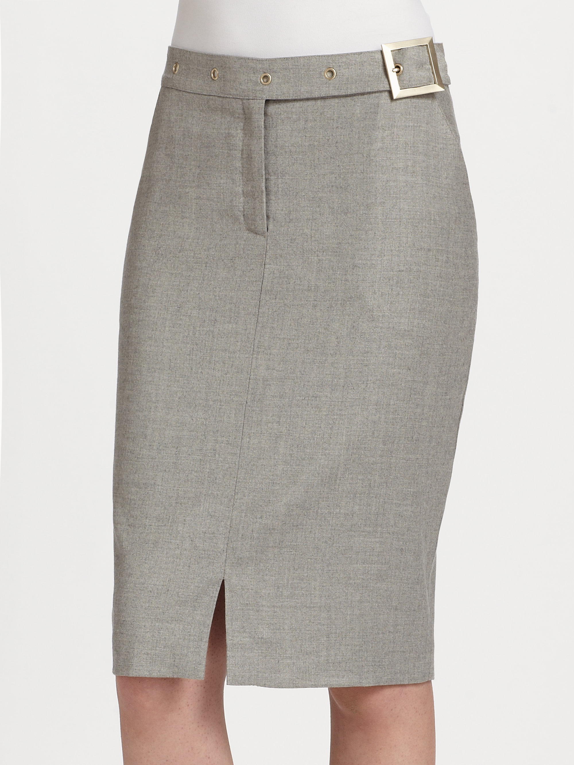 st stretch flannel pencil skirt in gray lyst