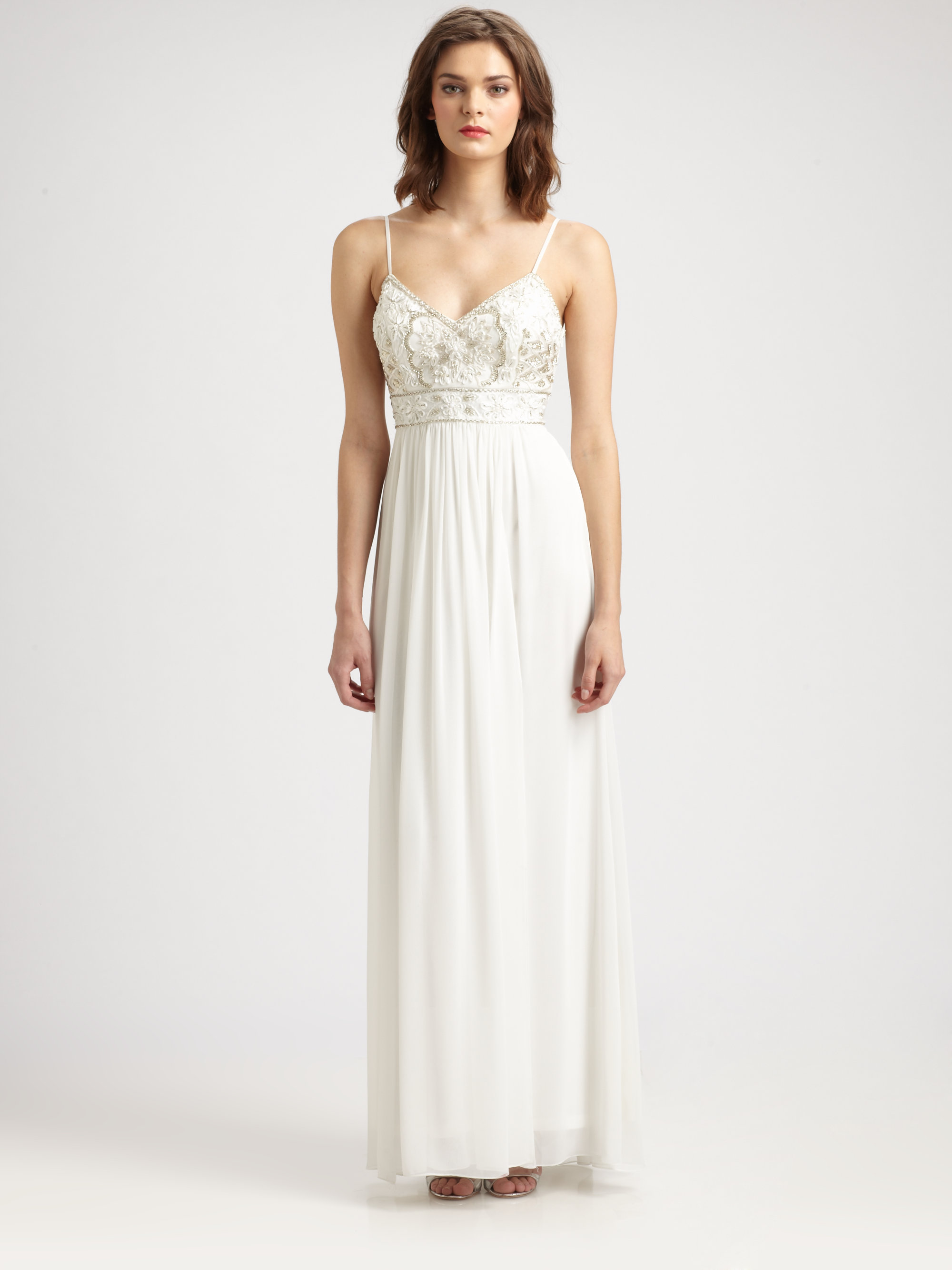 Sue wong Beaded Maxi Dress in White - Lyst
