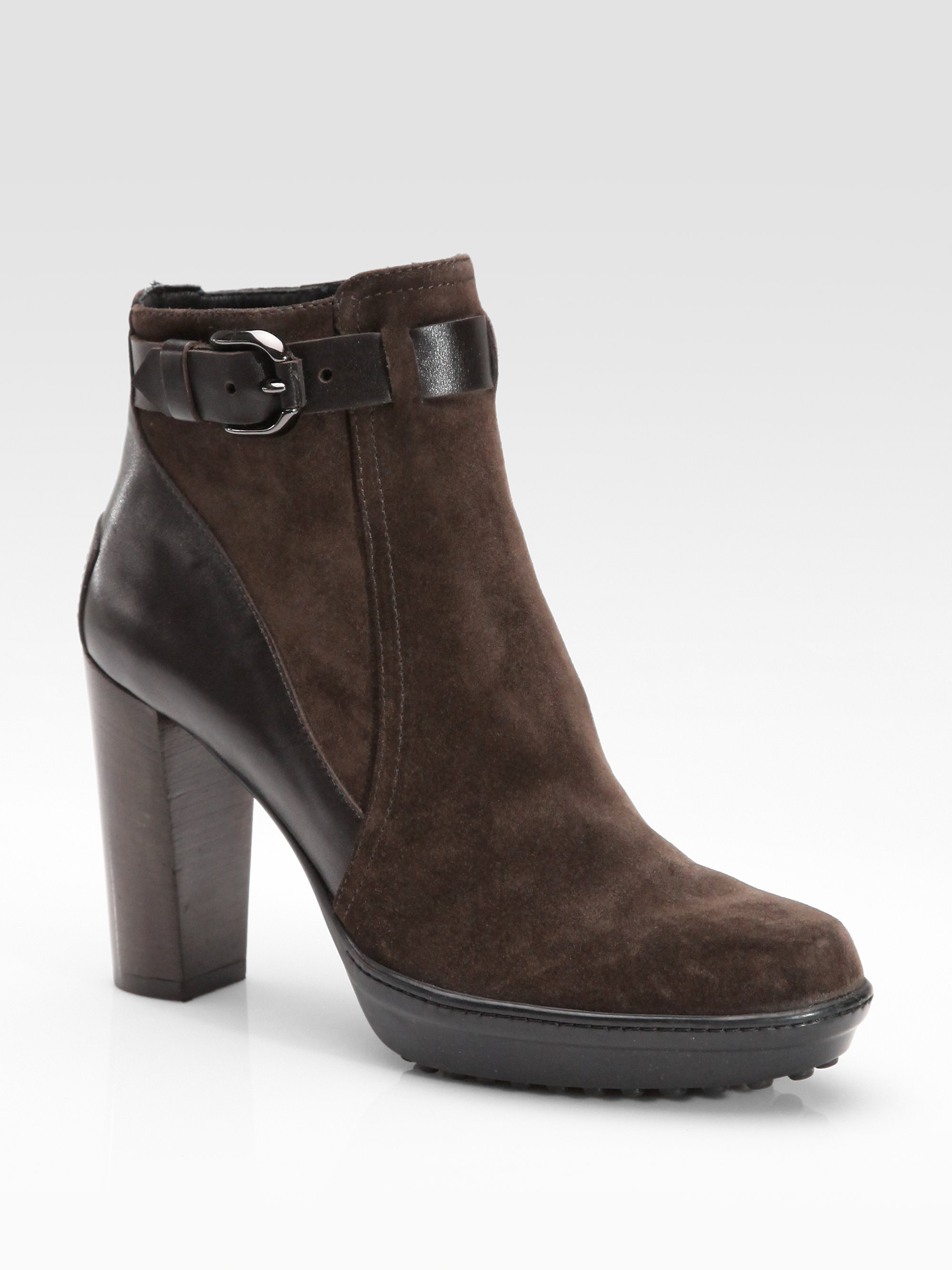 tod s suede leather buckle ankle boots in brown lyst