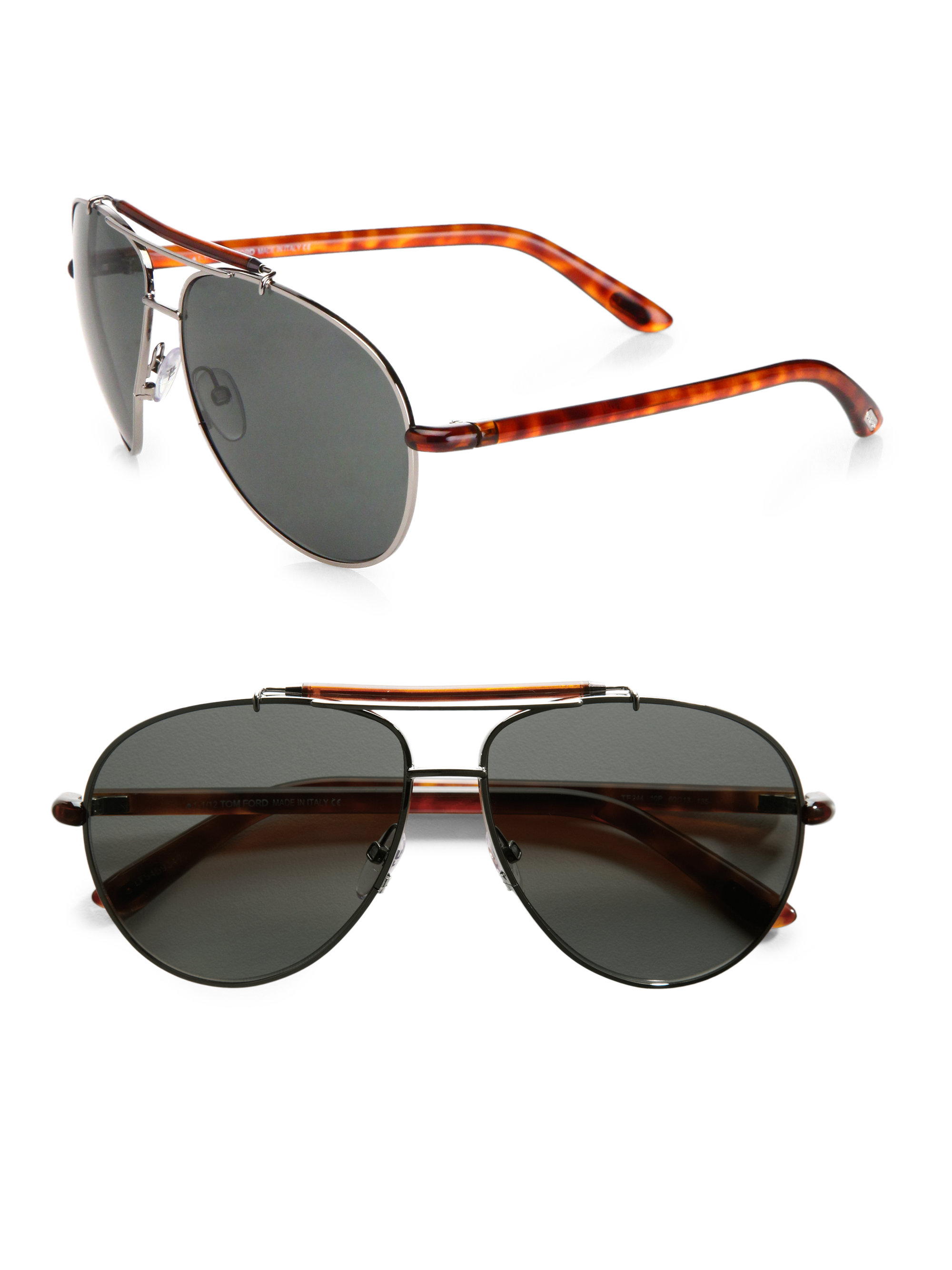 tom ford metal aviator sunglasses in brown for men ruthenium lyst. Cars Review. Best American Auto & Cars Review