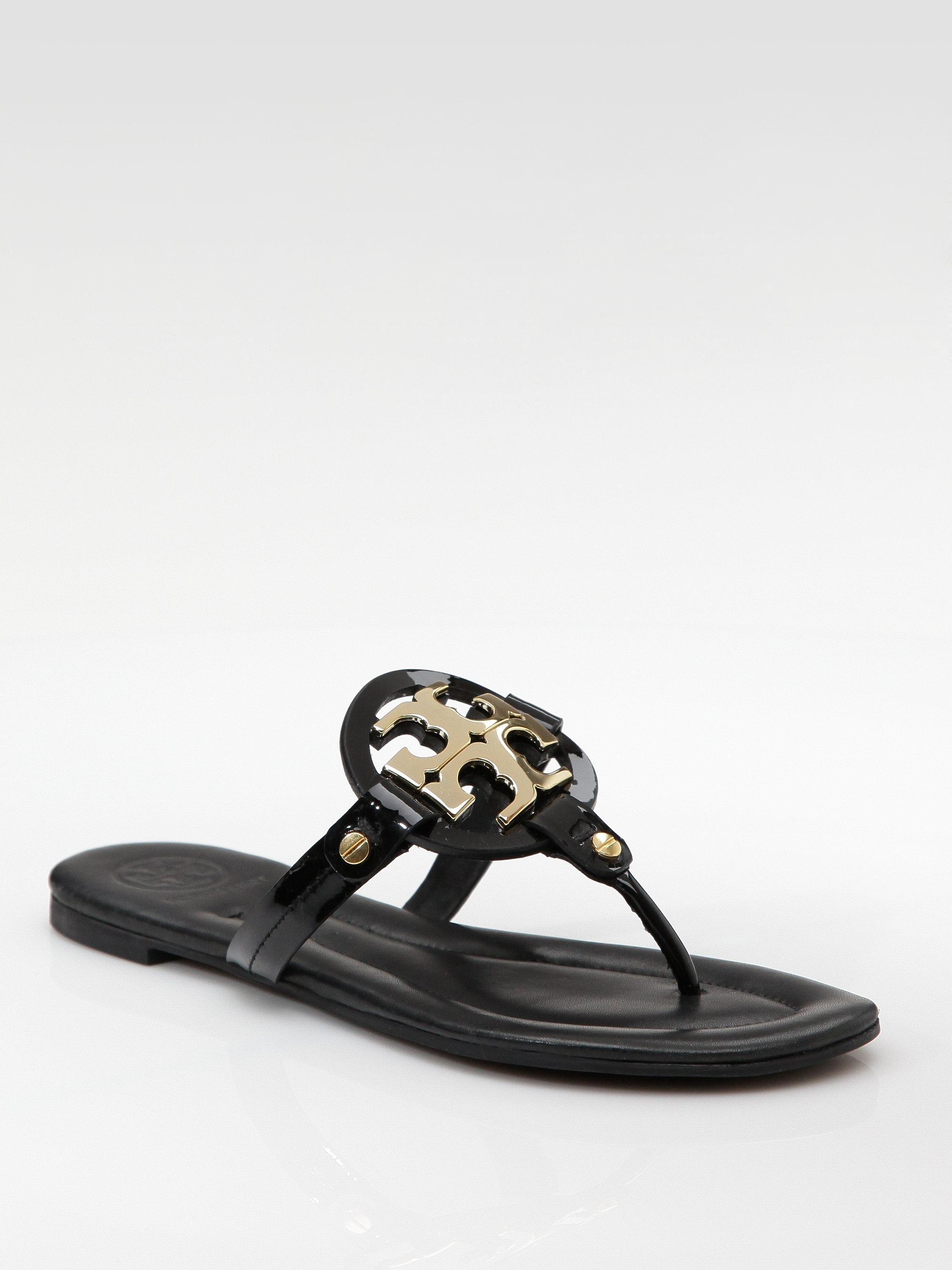 f642d13f381 Tory Burch Patent Leather Flat Sandals in Black - Lyst