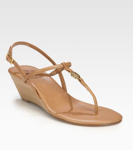 Tory Burch Emmy Leather Wedge Sandals in Brown  royal tan Tory Burch Emmy Wedge Sandals