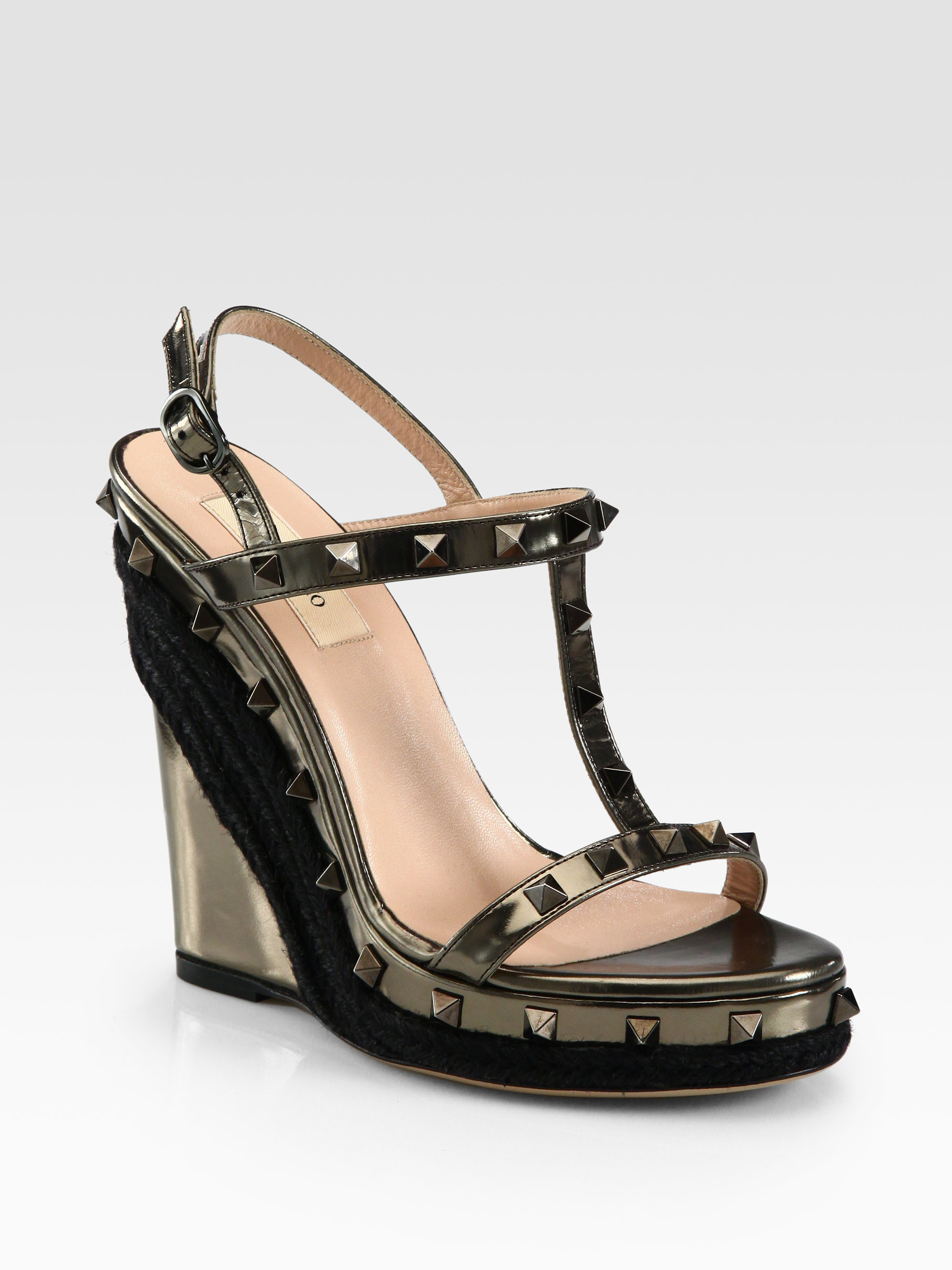 346e038be672 Valentino Rockstud Metallic Leather Wedge Sandals in Gold (dark silver)