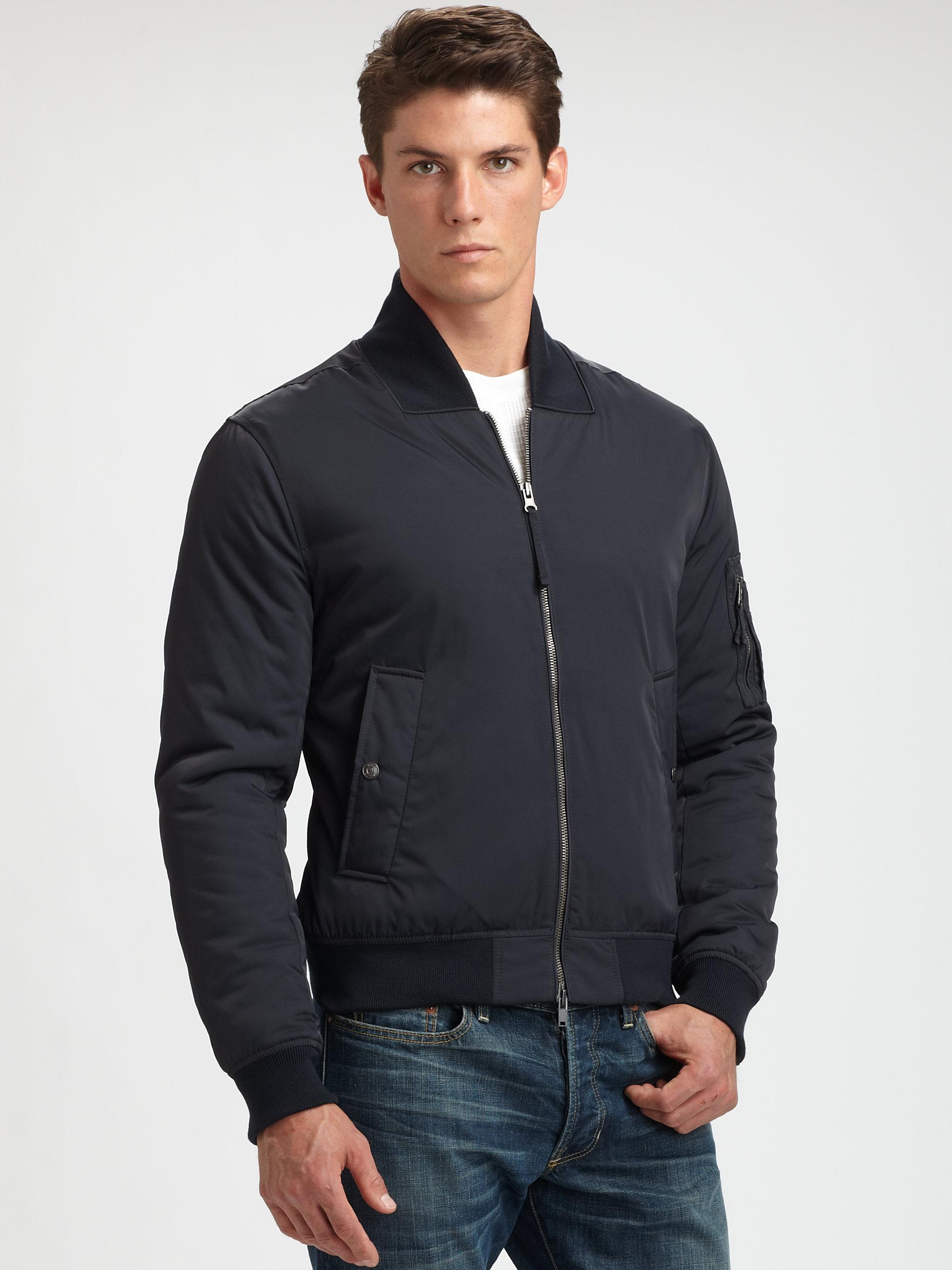 Lyst Vince Nylon Bomber Jacket In Blue For Men