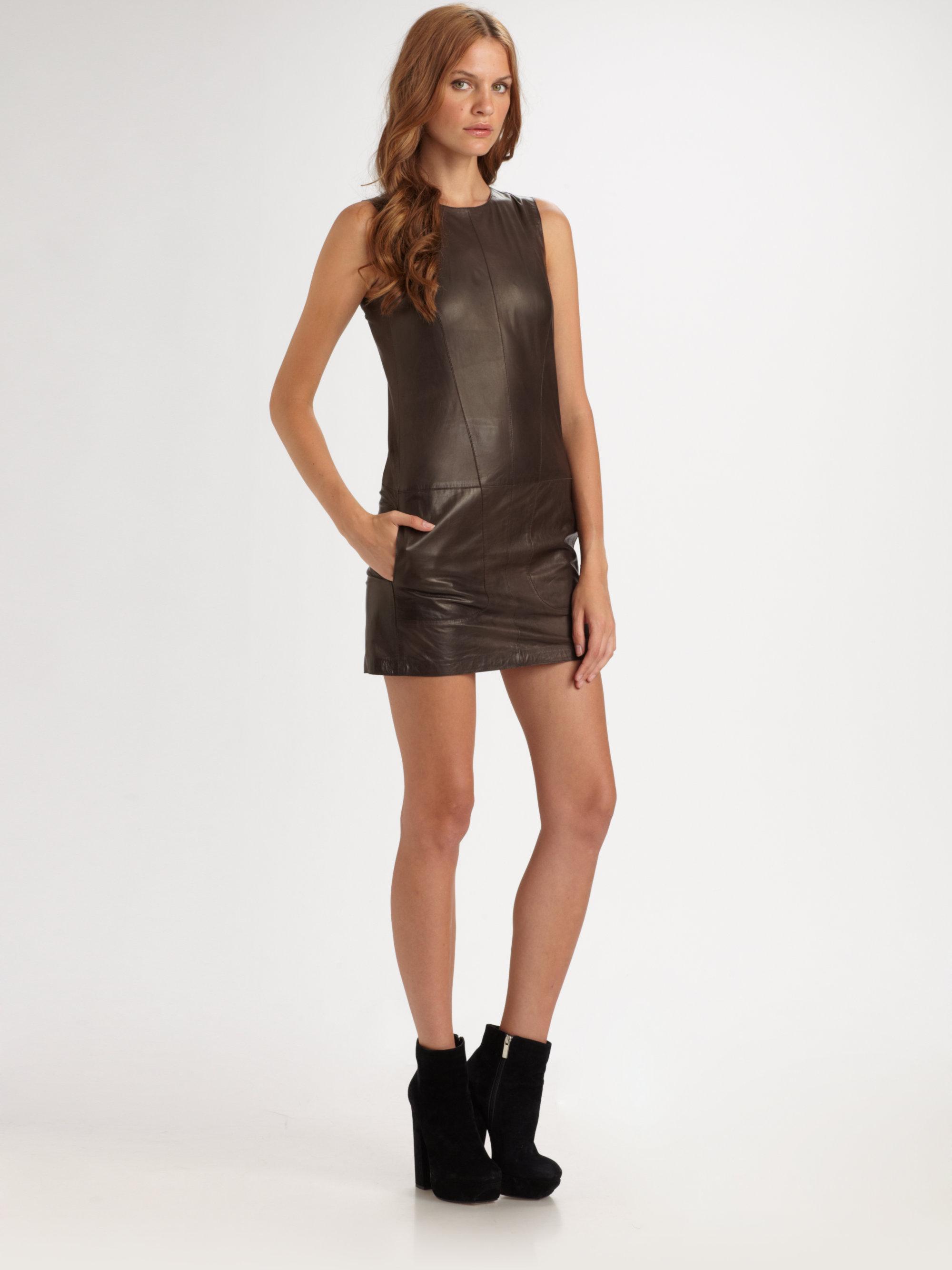 Lyst Vince Lambskin Leather Mini Dress In Brown