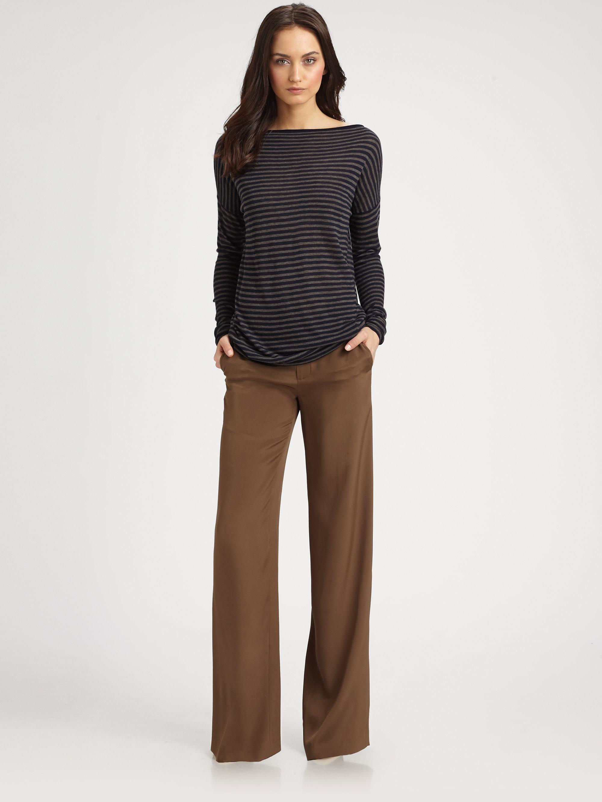 Vince Silk Wide Leg Dress Pants in Brown   Lyst