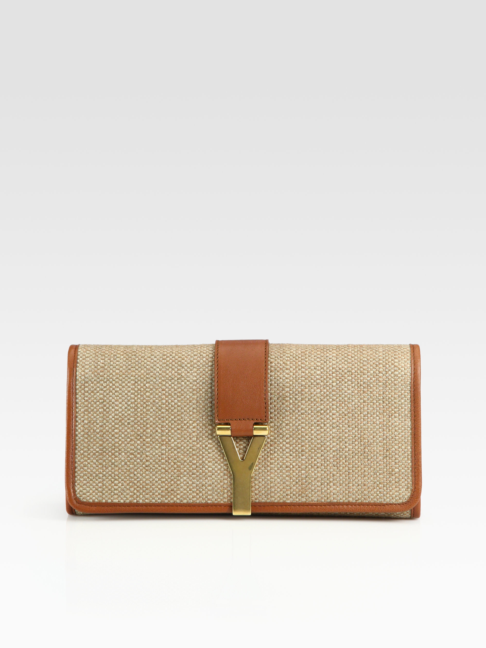 Saint laurent Ysl Chyc Large Linen Clutch in Gold (natural) | Lyst