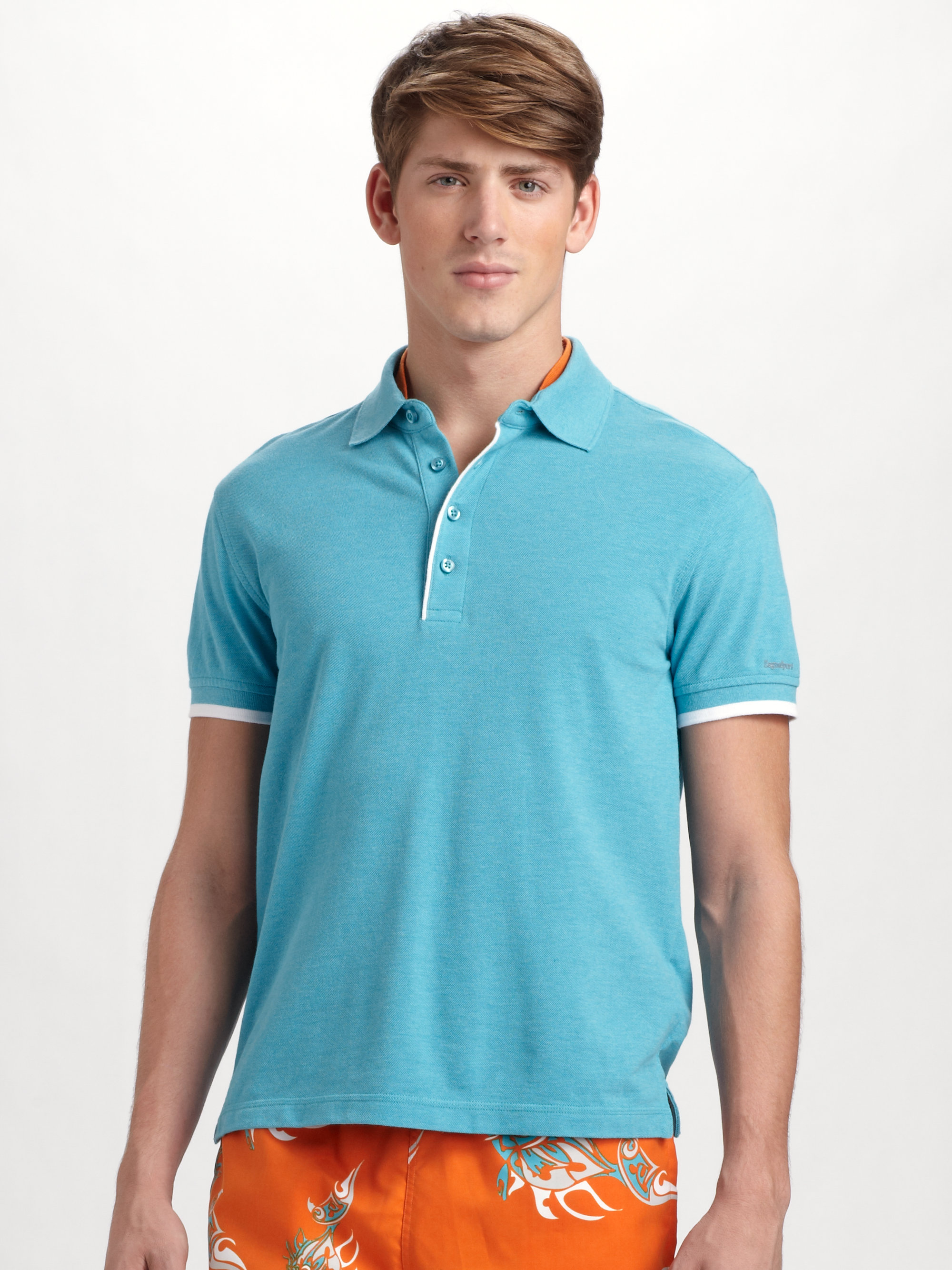 Zegna sport tipped polo in blue for men bright blue lyst for Zegna polo shirts sale