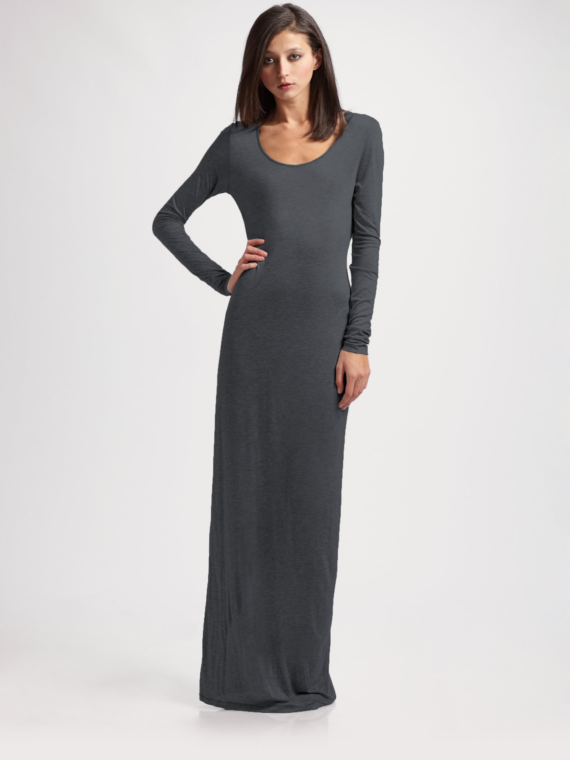 Acne studios Long Knit Maxi Dress in Gray | Lyst