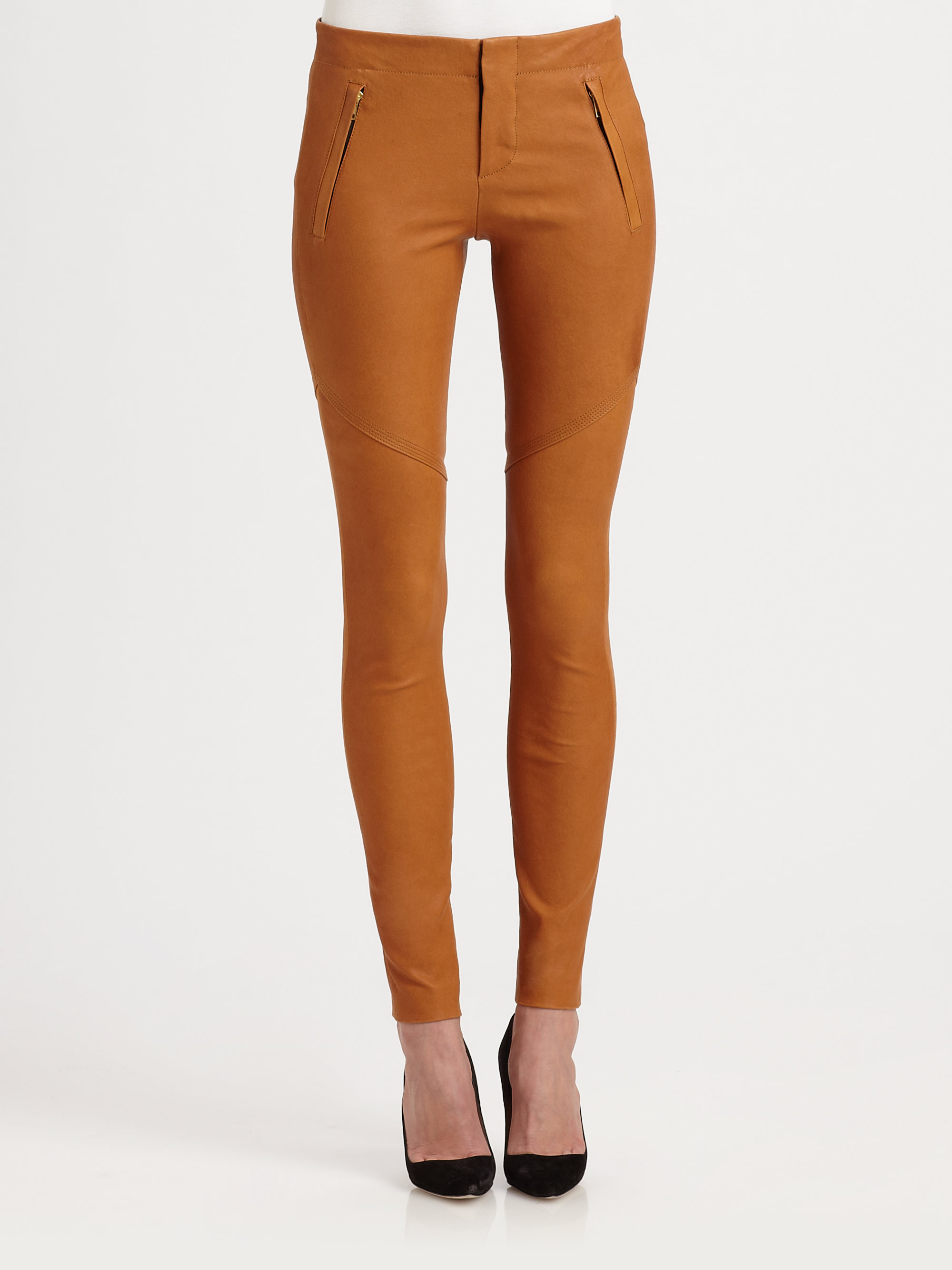 A L C Charlotte Stretch Leather Pants In Brown Caramel