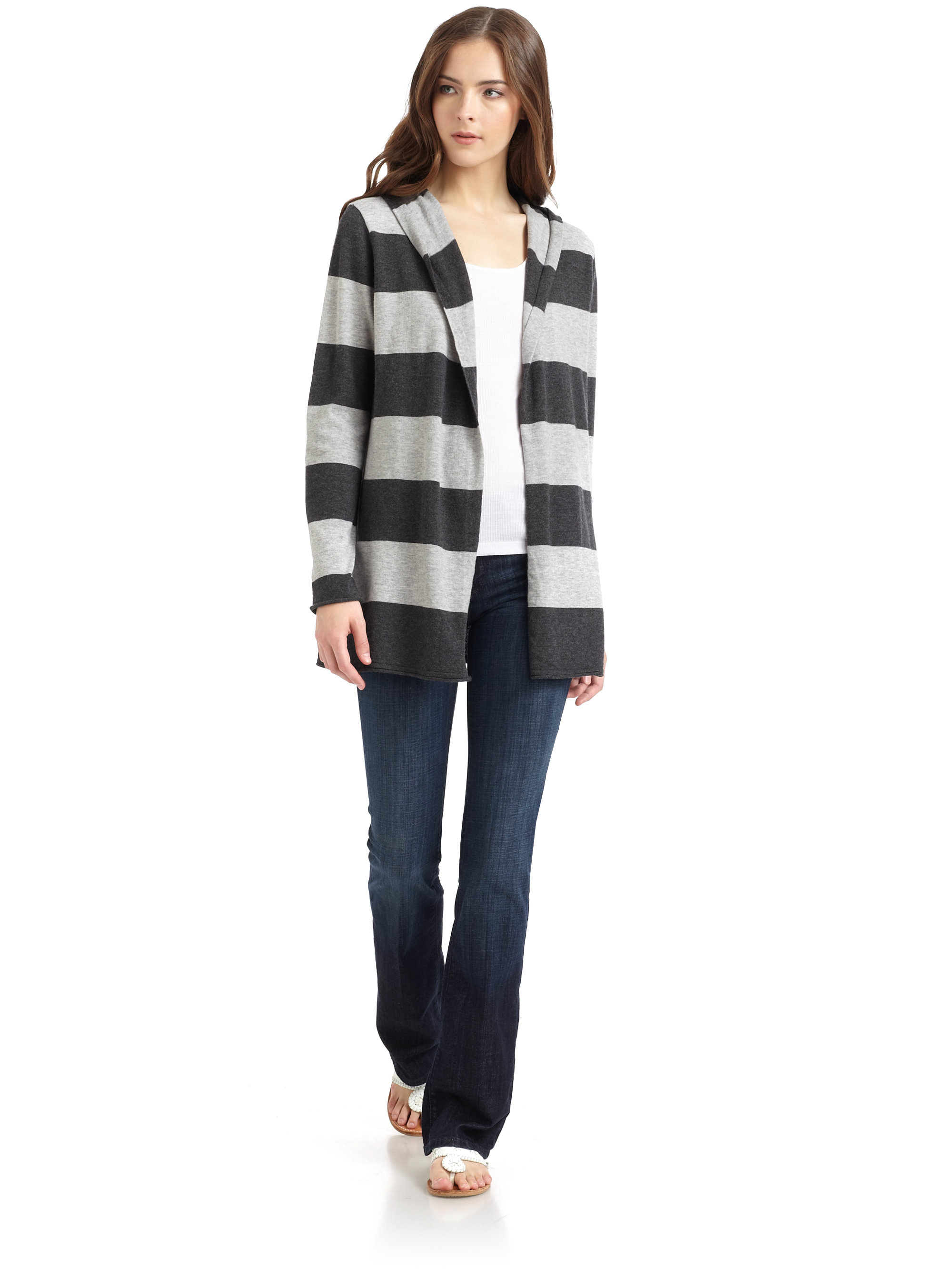 Blue saks fifth avenue Striped Hooded Cardigan in Gray | Lyst