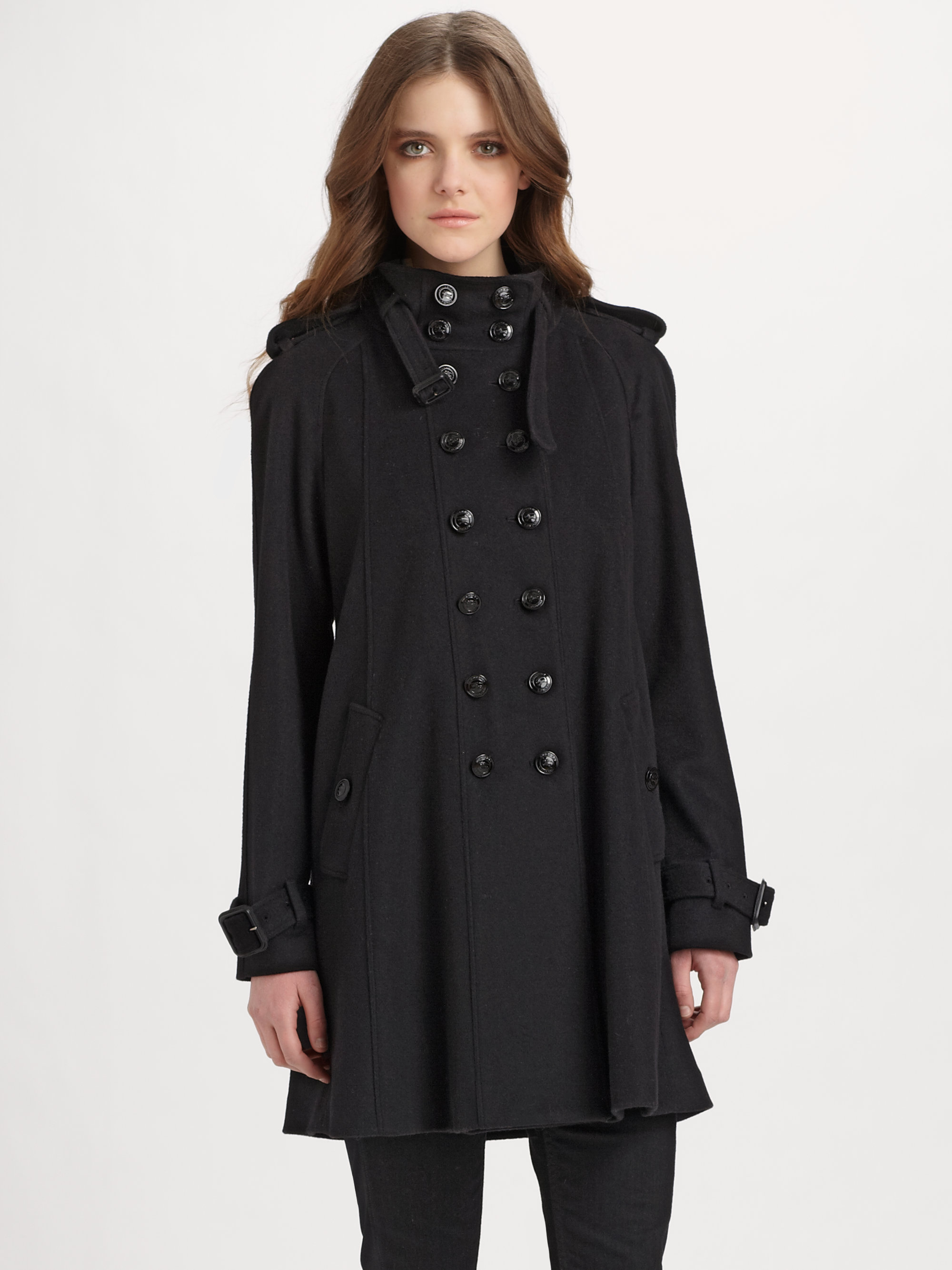 Burberry Wool-cashmere Swing Coat in Black